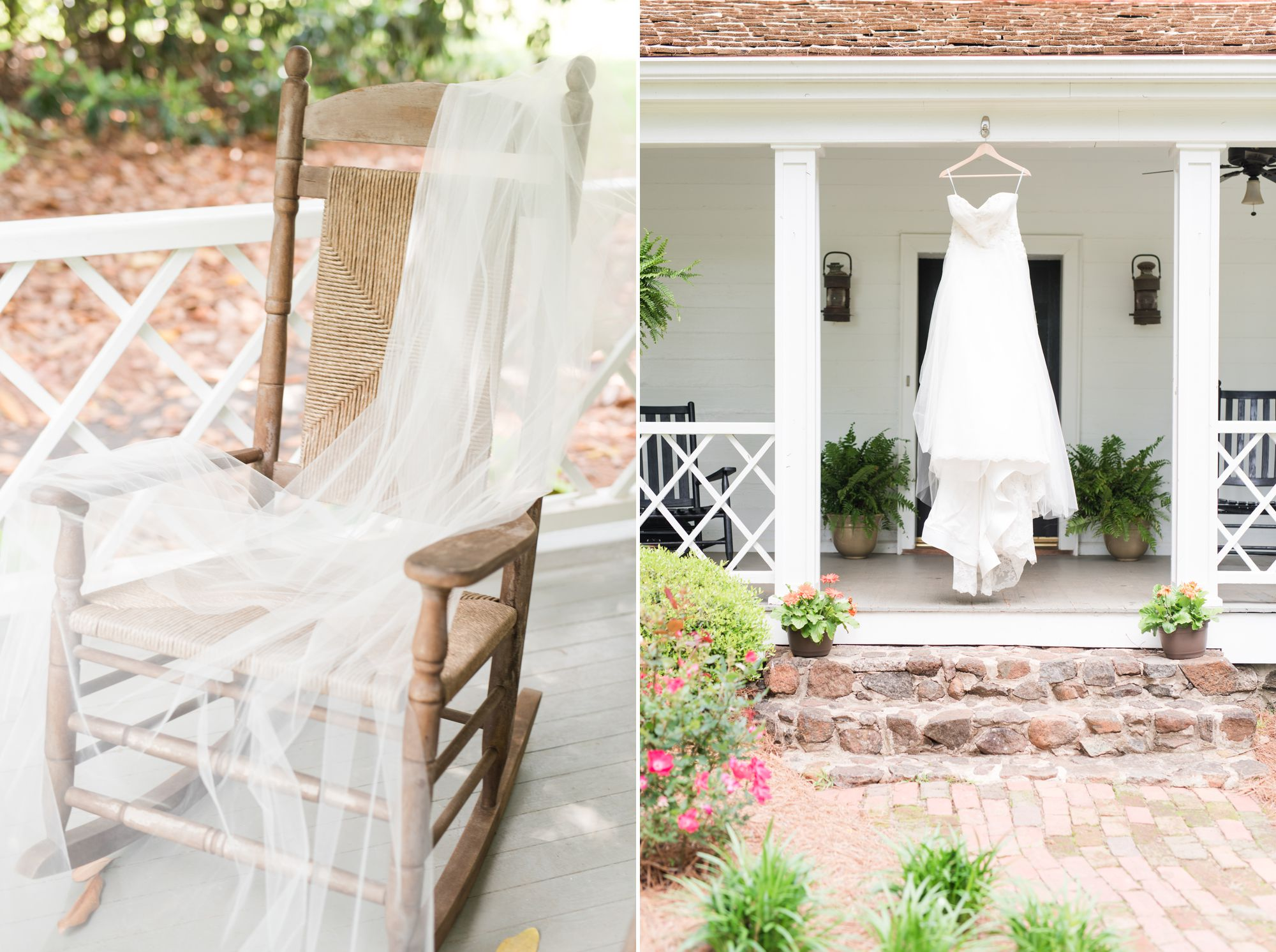 dress and veil hanging before Charlotte wedding