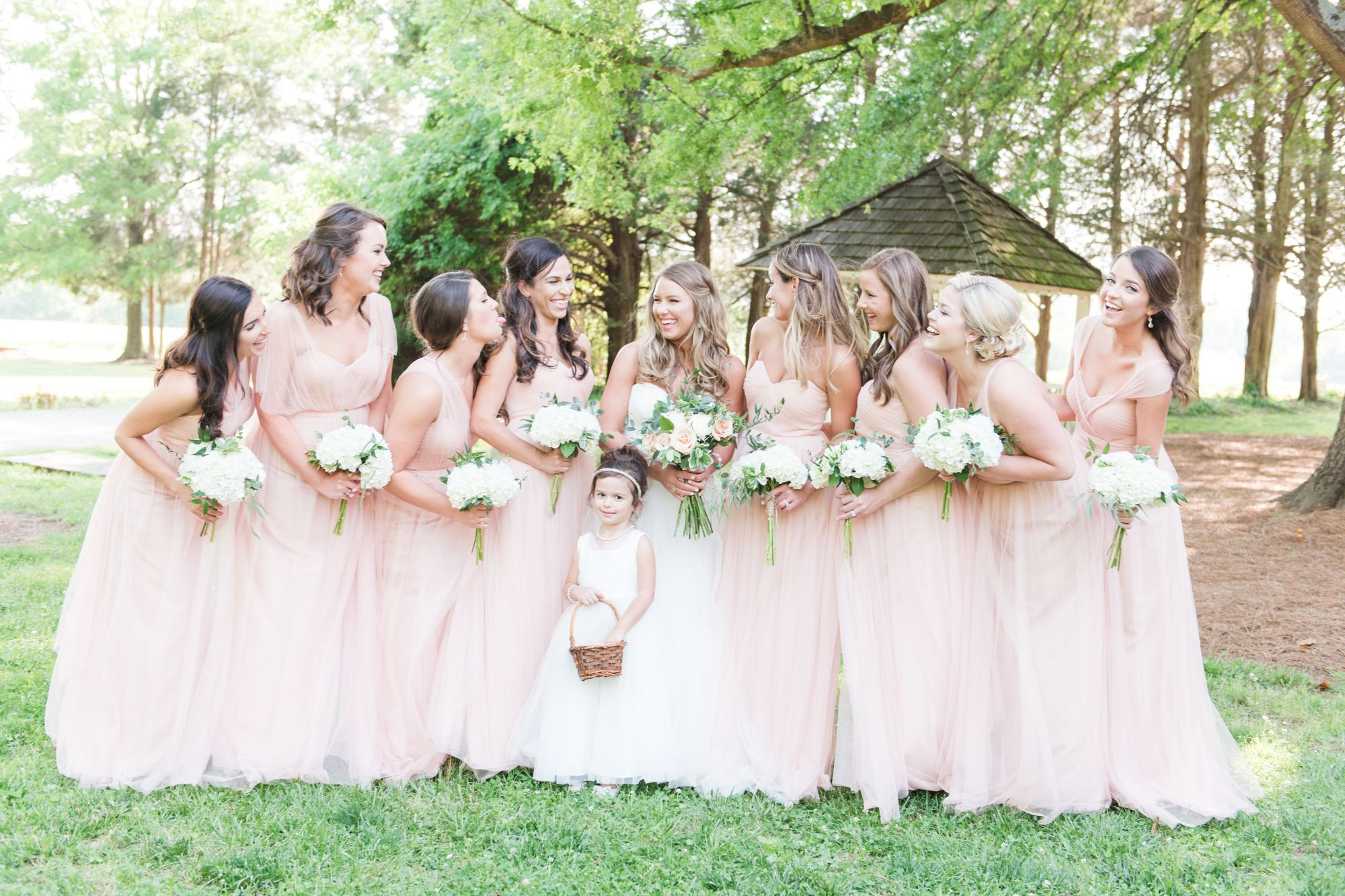 fun bridesmaid picture at charlotte wedding