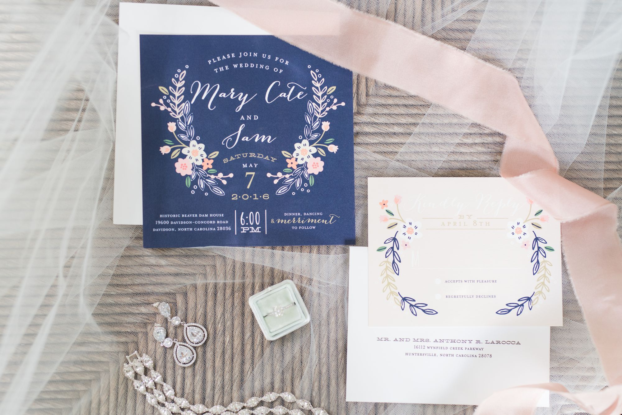 invitation suite for Beaver Dam house wedding