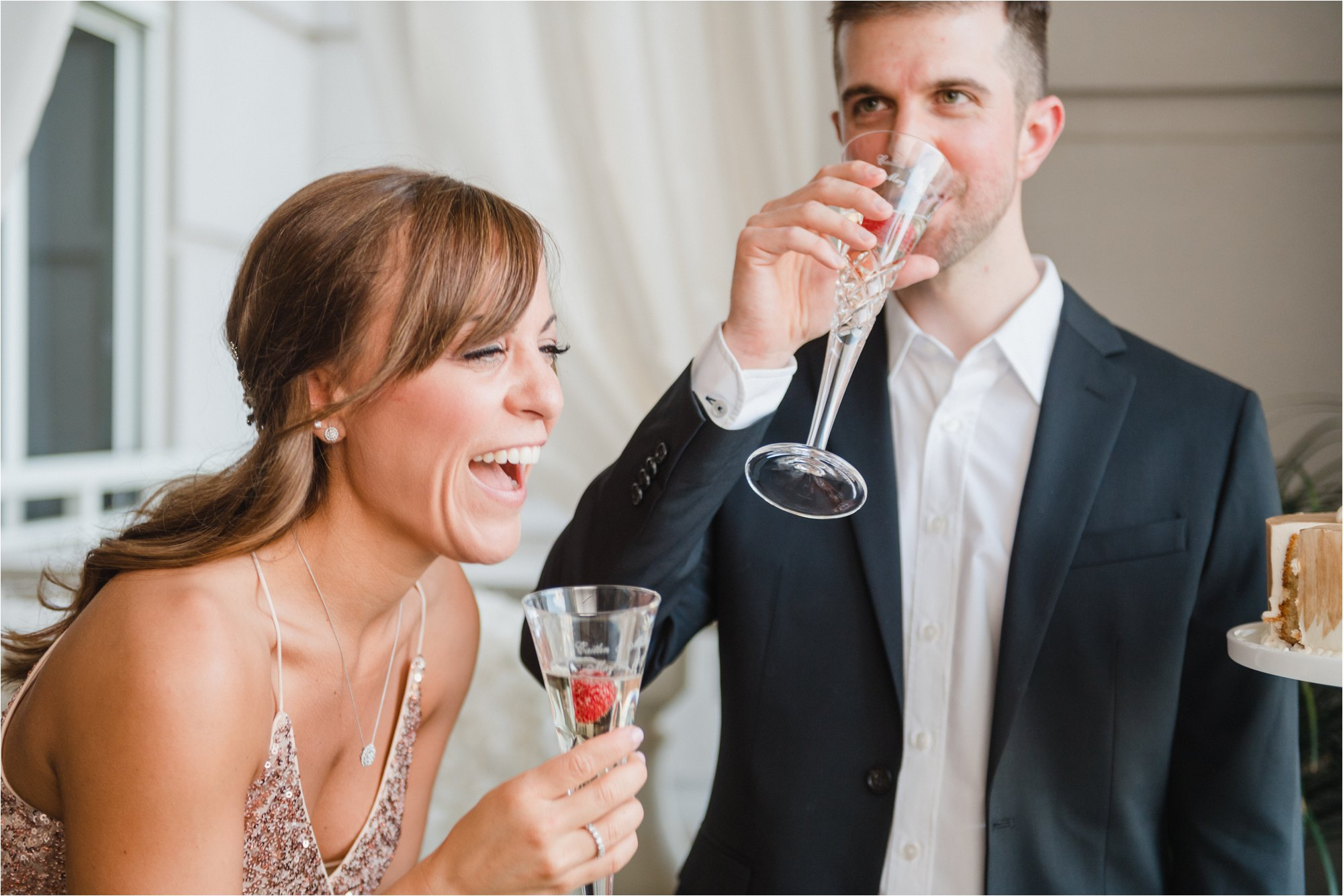 bride and groom make a toast