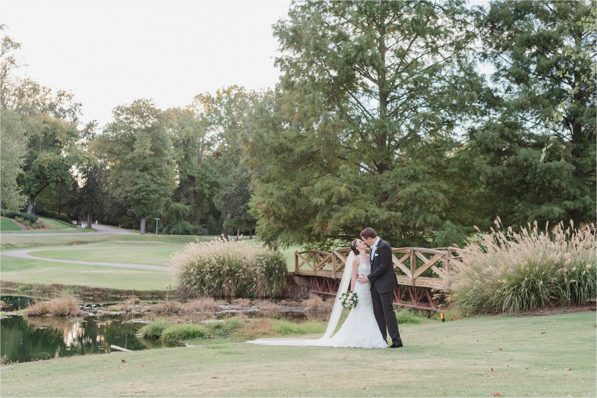 Bride and groom at greensboro country club