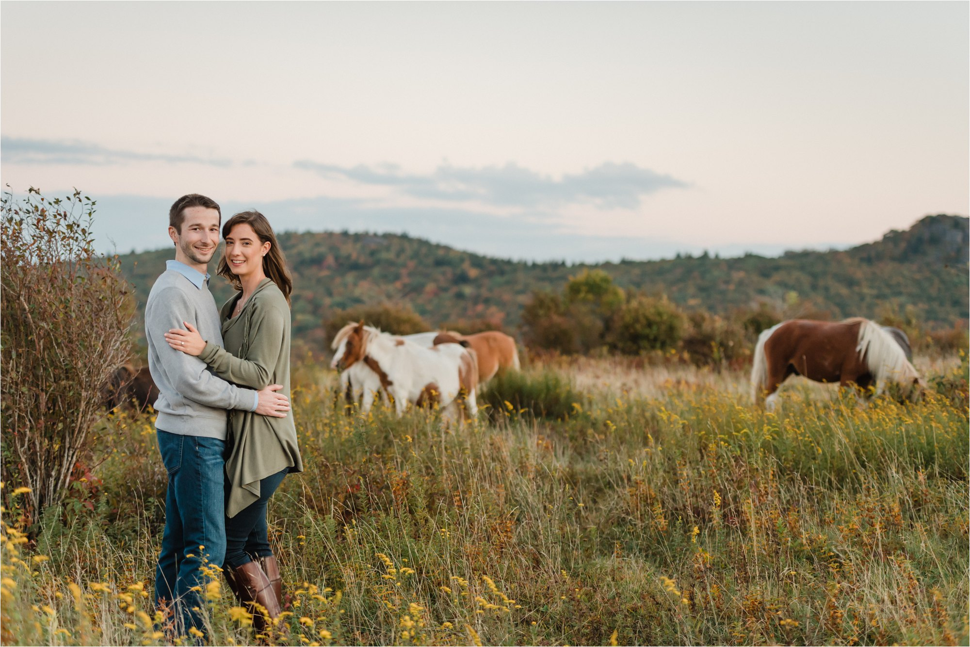 Ponies at Engagement Session at Blue Ridge Mountains