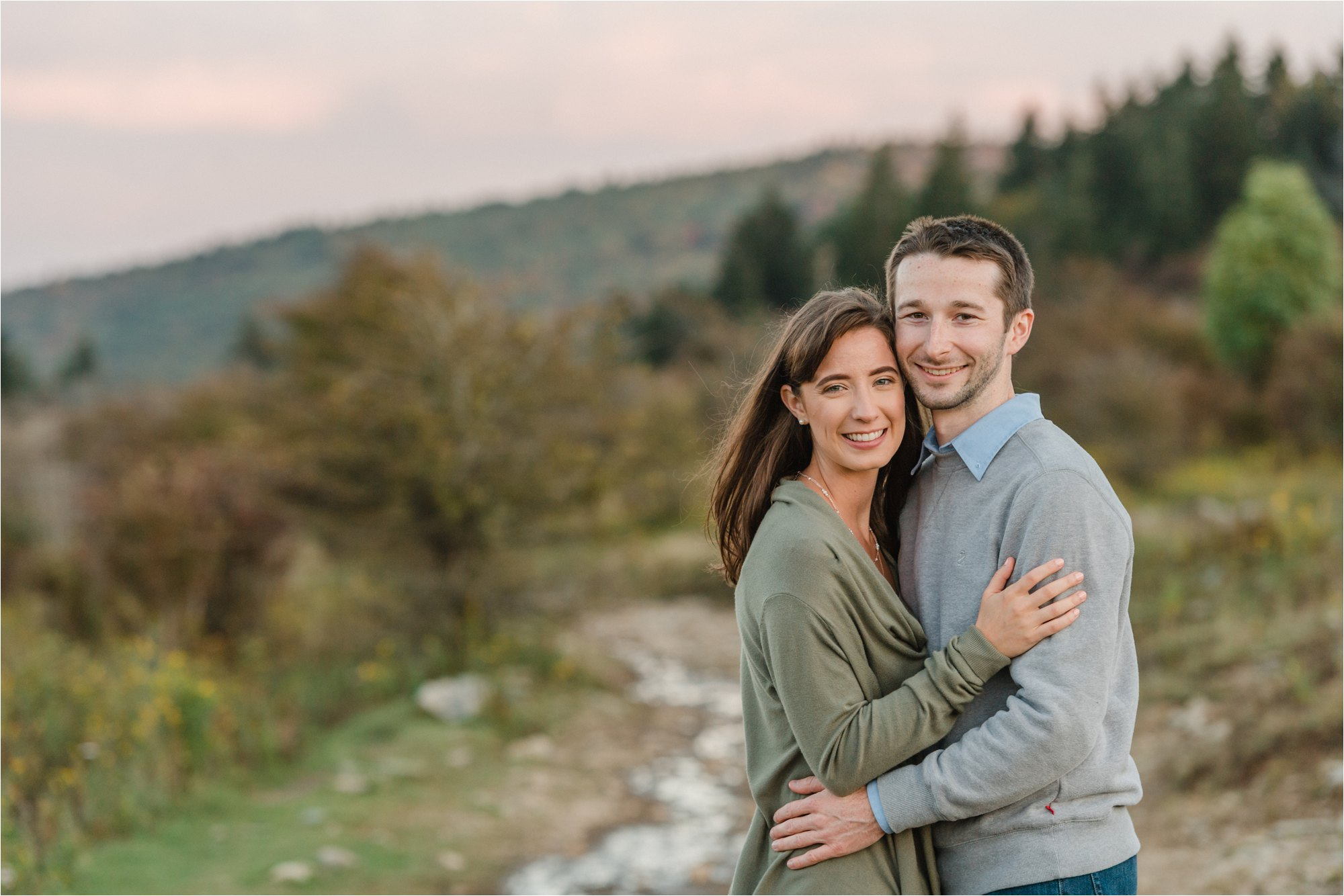 Engaged Couple Posing at Blue Ridge Mountains