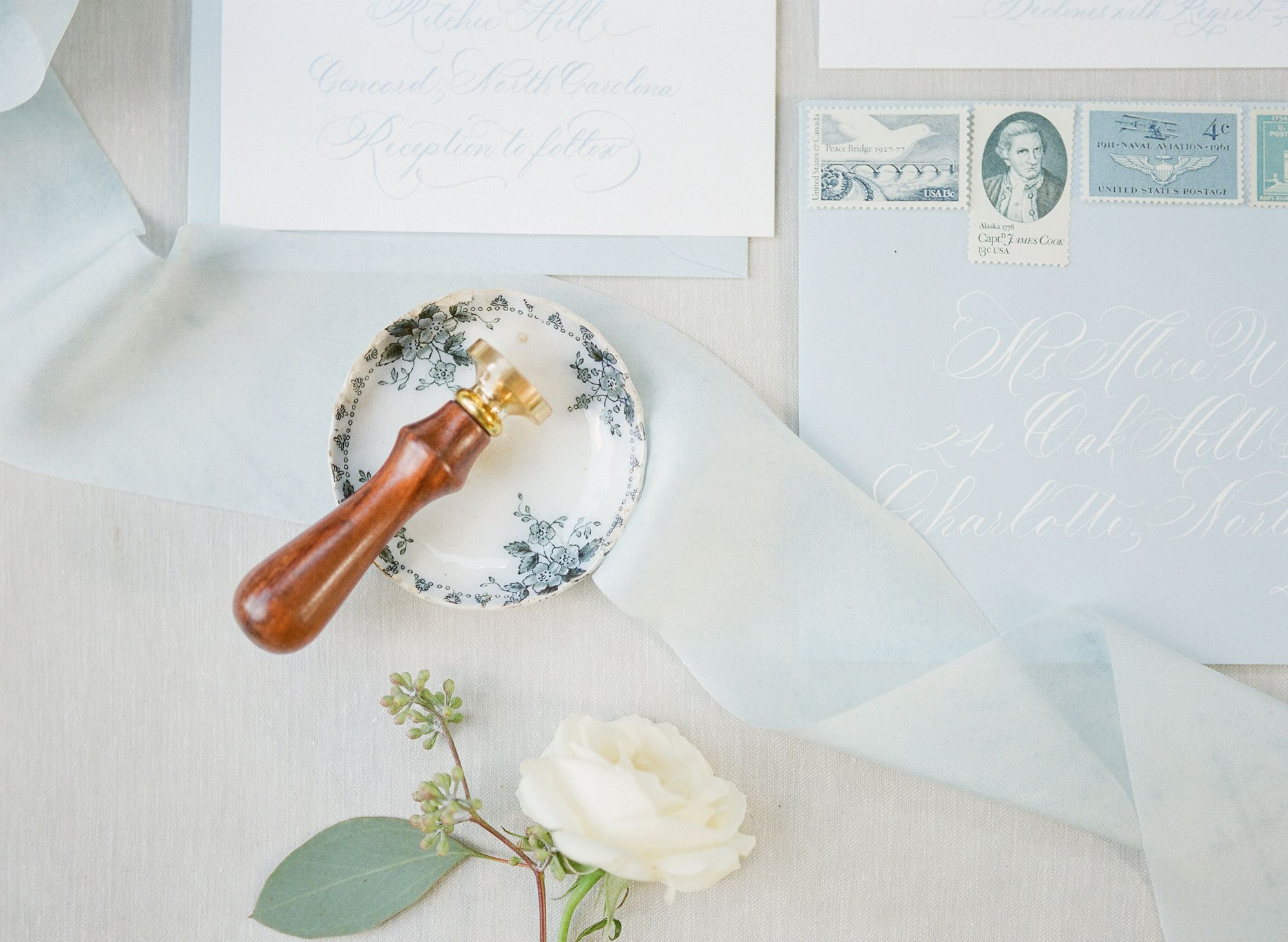 blue wedding invitation suite