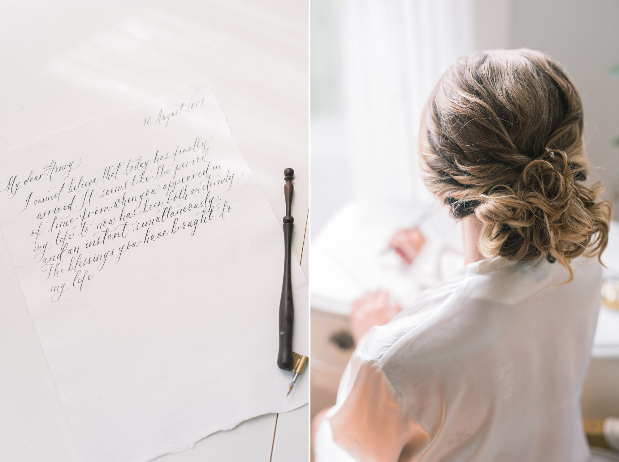 bride writing calligraphy