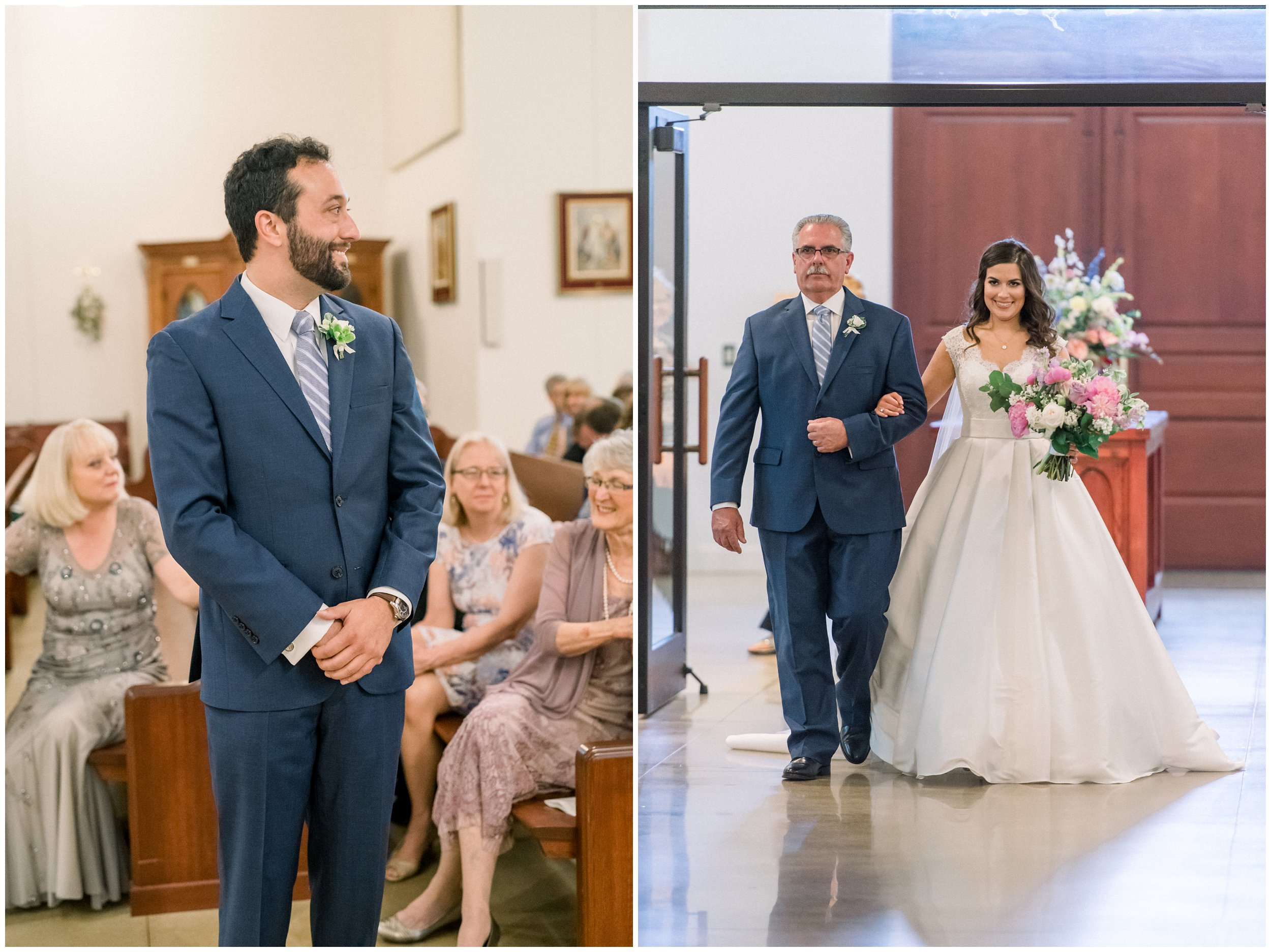 groom waiting for bride while father walks her down the aisle