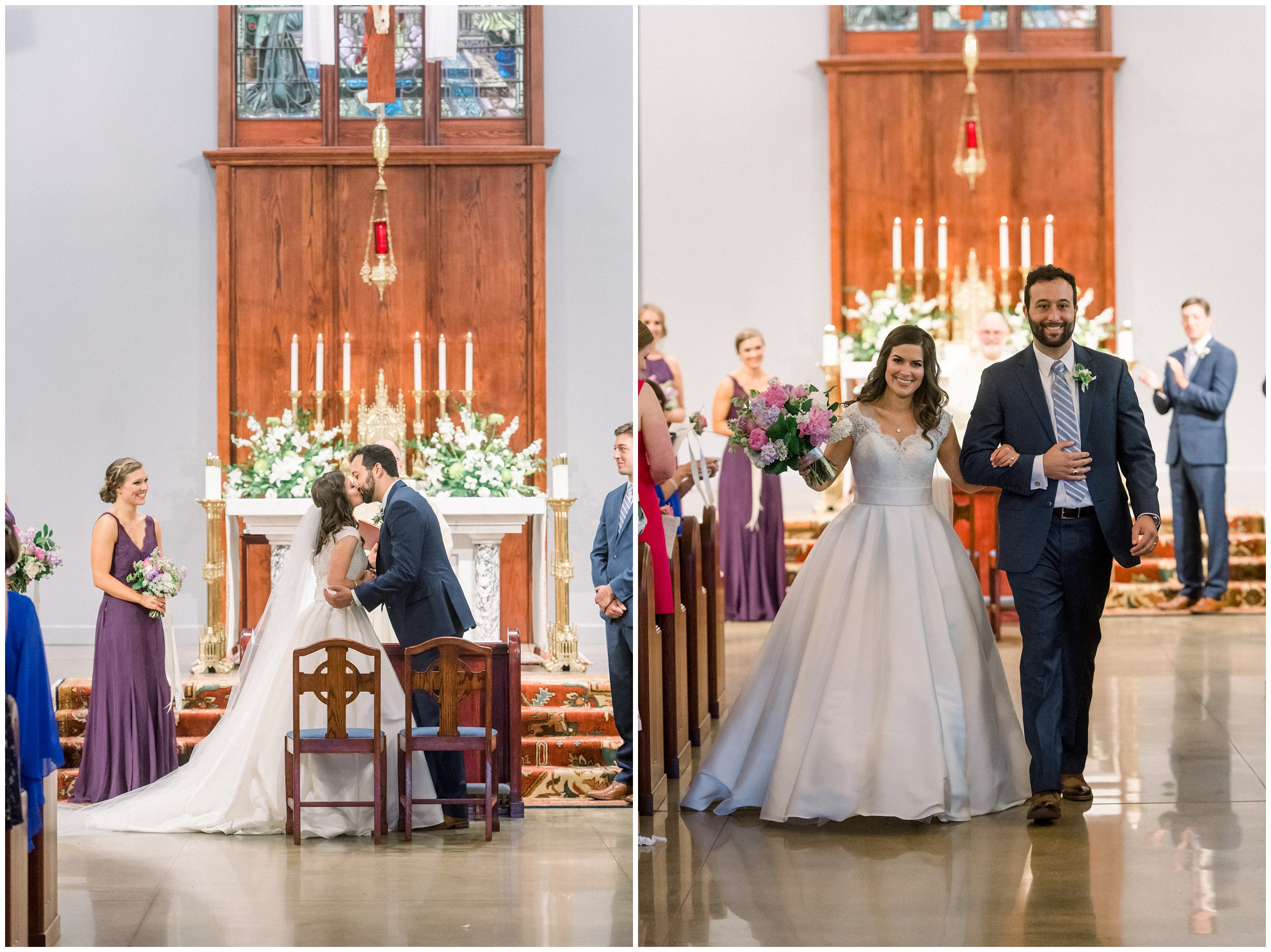 wedding ceremony details, first kiss, leaving the church
