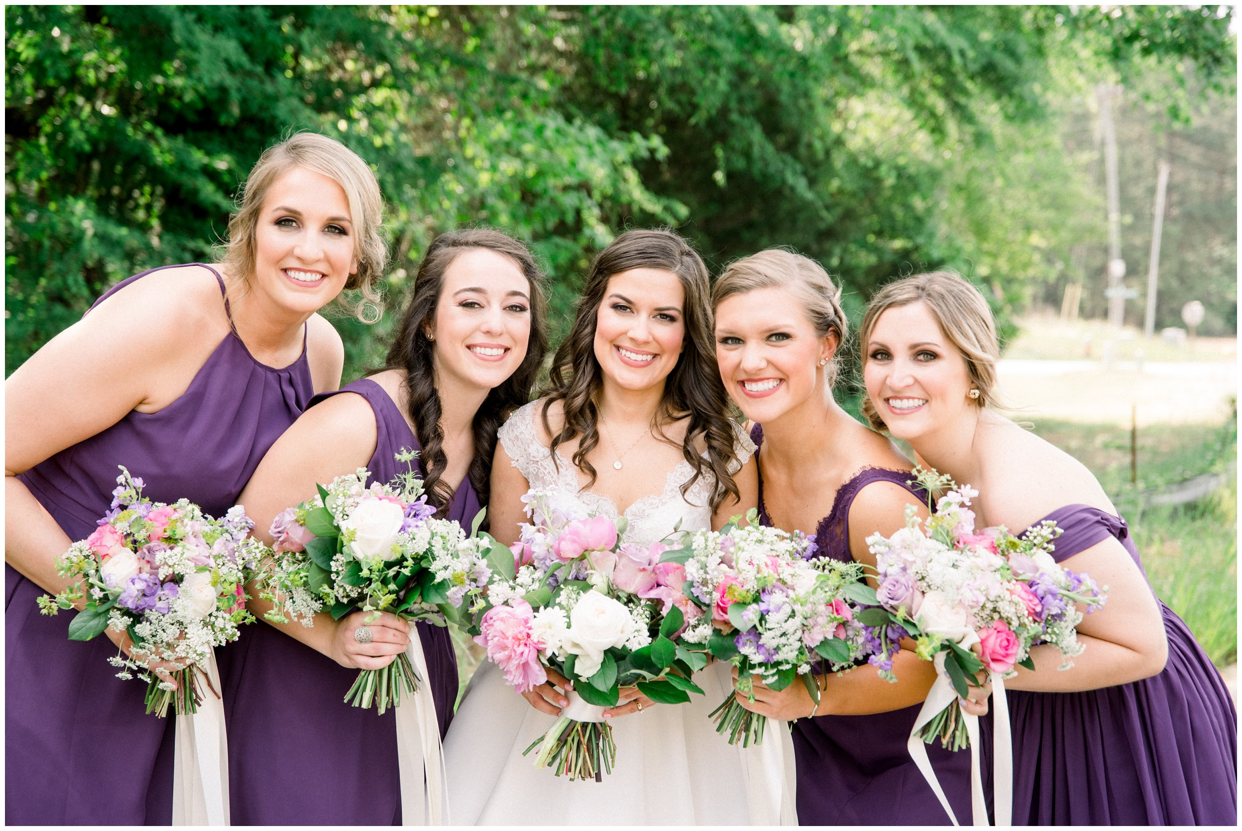 beautiful bridal portraits purple bridesmaids gowns