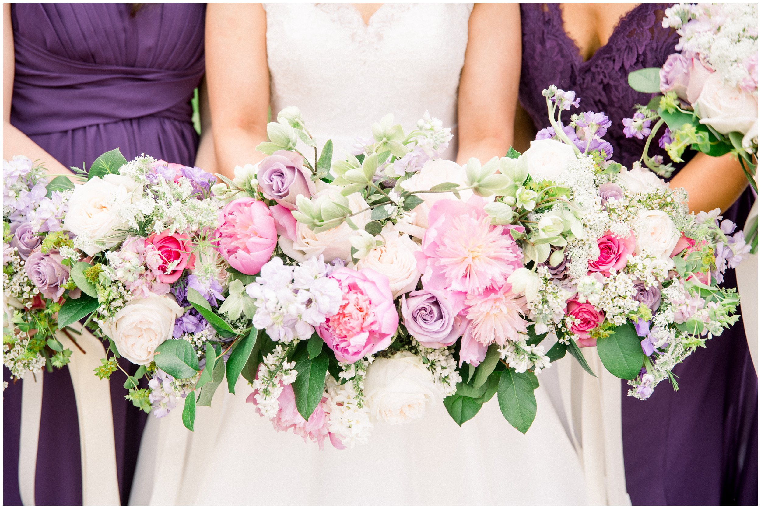 gorgeous wedding bouquets in pink and purple