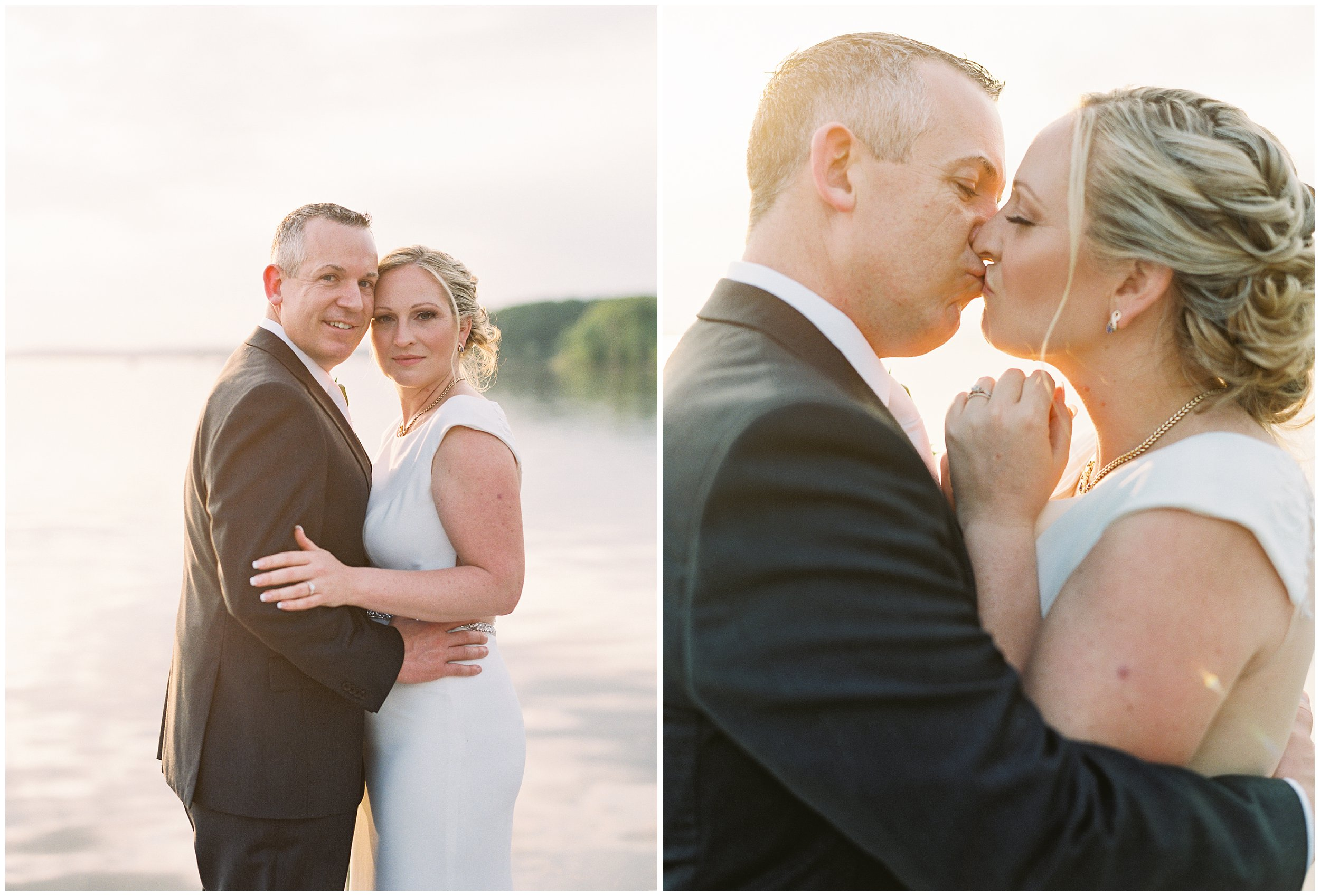 husband and wife newlywed portraits during sunset on maryland dock
