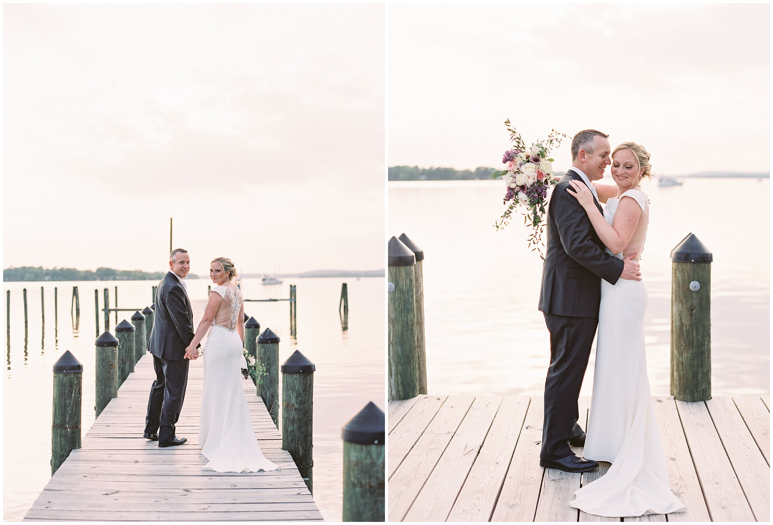 wedding portraits at sunset on maryland dock