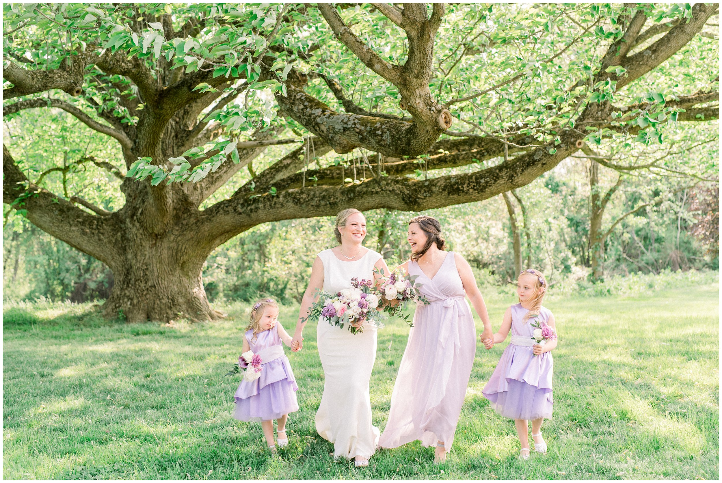 bridal party portraits under a huge tree