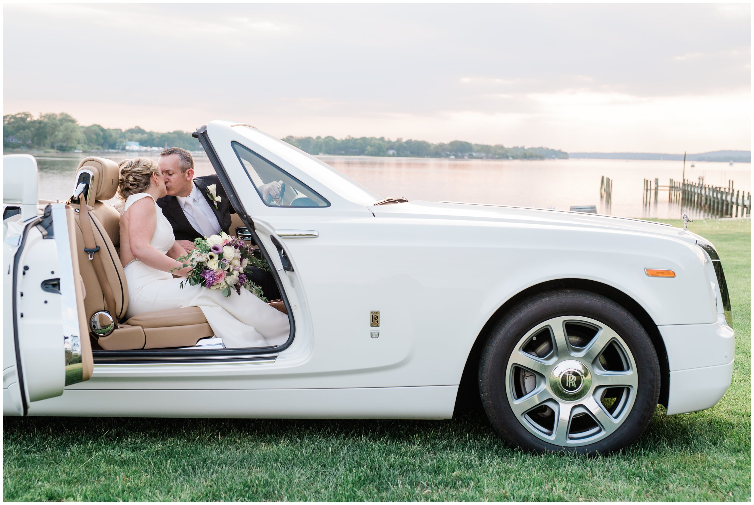 newlyweds in rolls royce