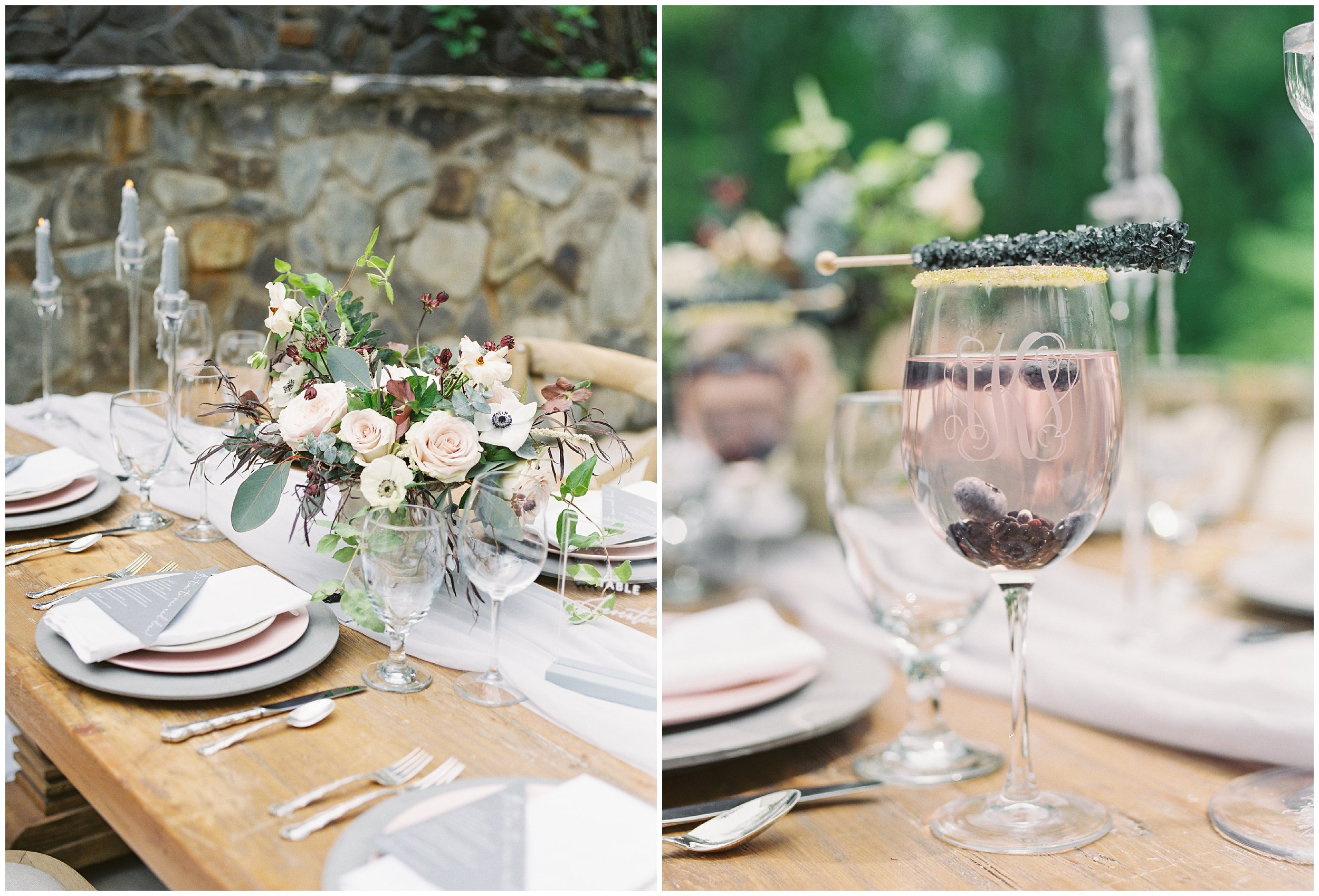 table details, champagne and rock candy