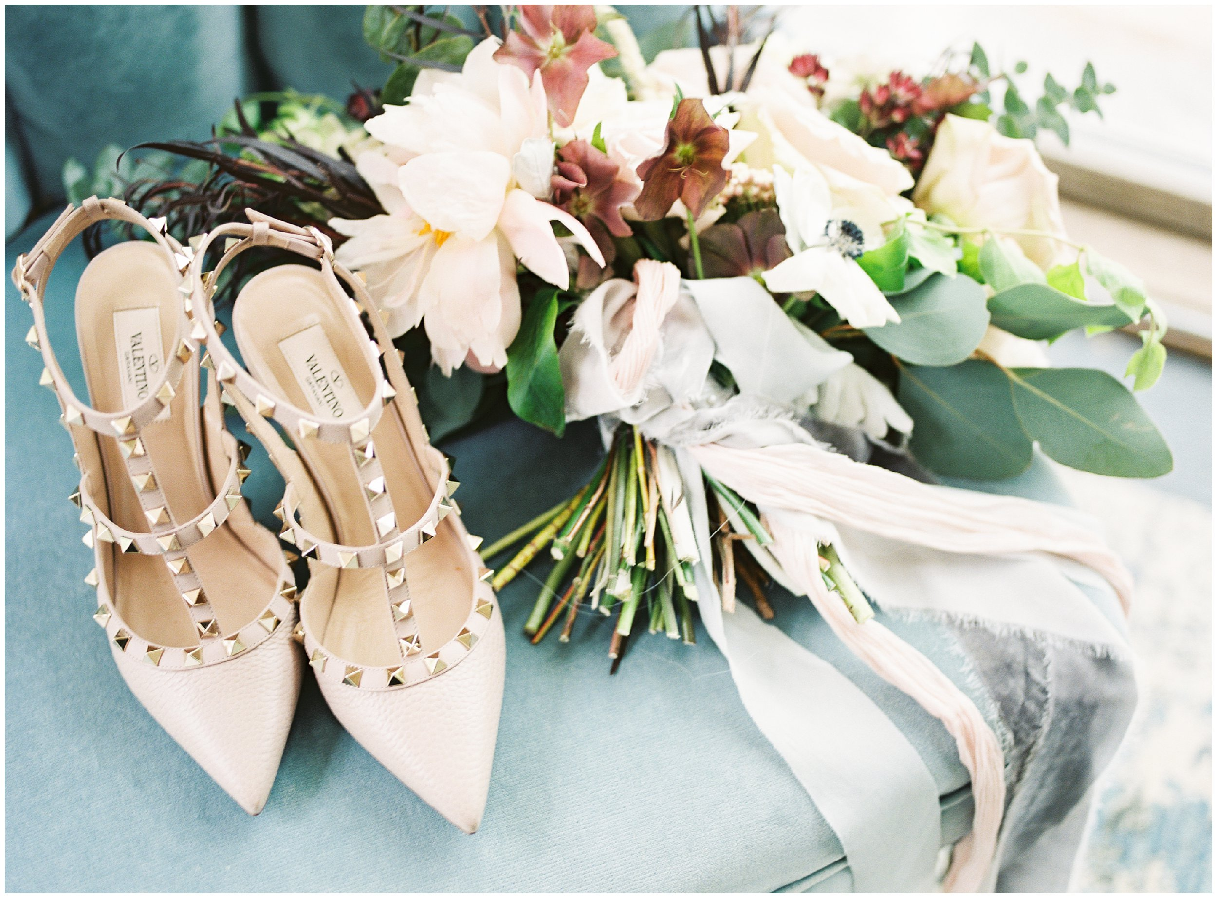 valentino shoes with beautiful wedding bouquet