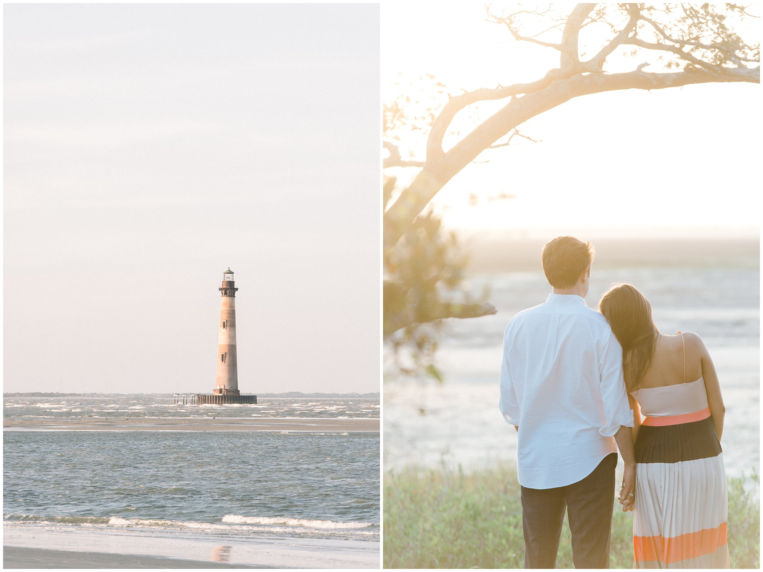 morris island lighthouse engaged couple folly beach photography session