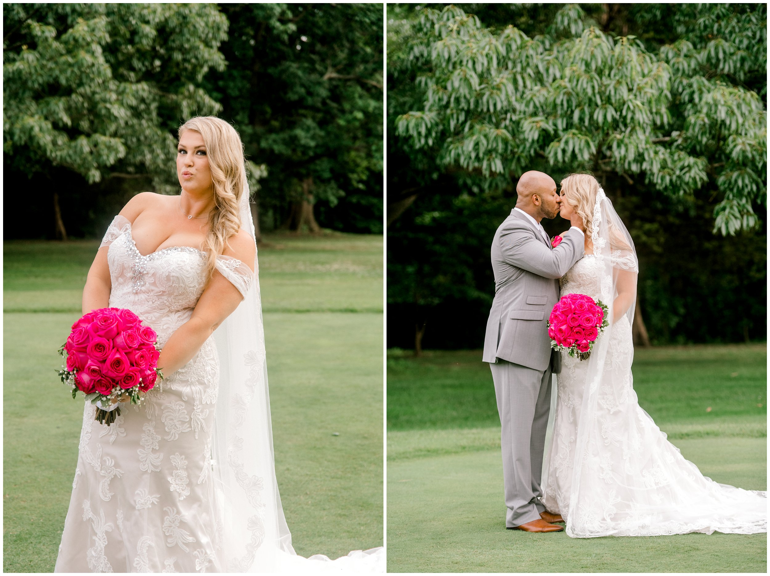Bridal portrait, bride and groom kissing