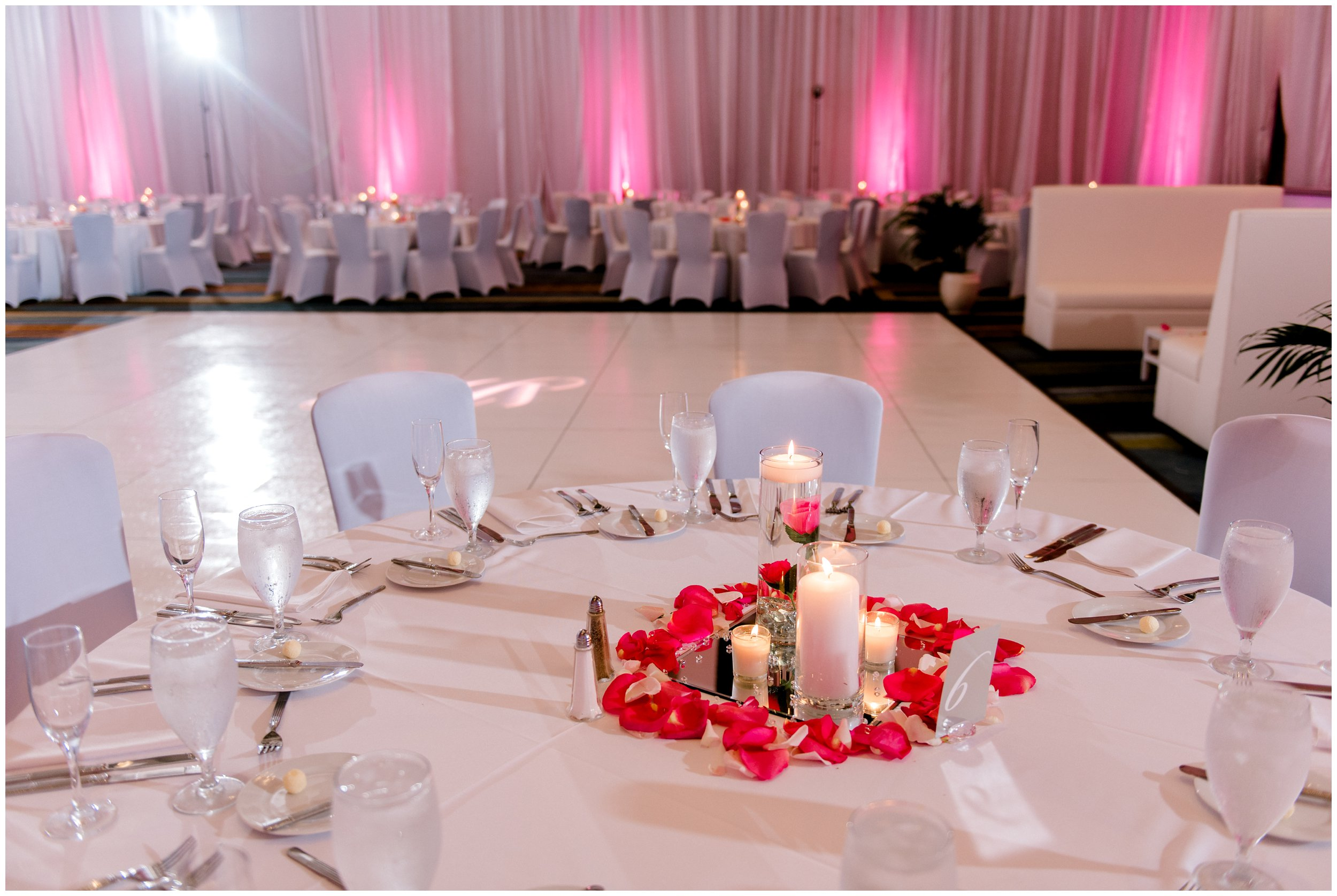 Hyatt Regency wedding venue, pink and white details