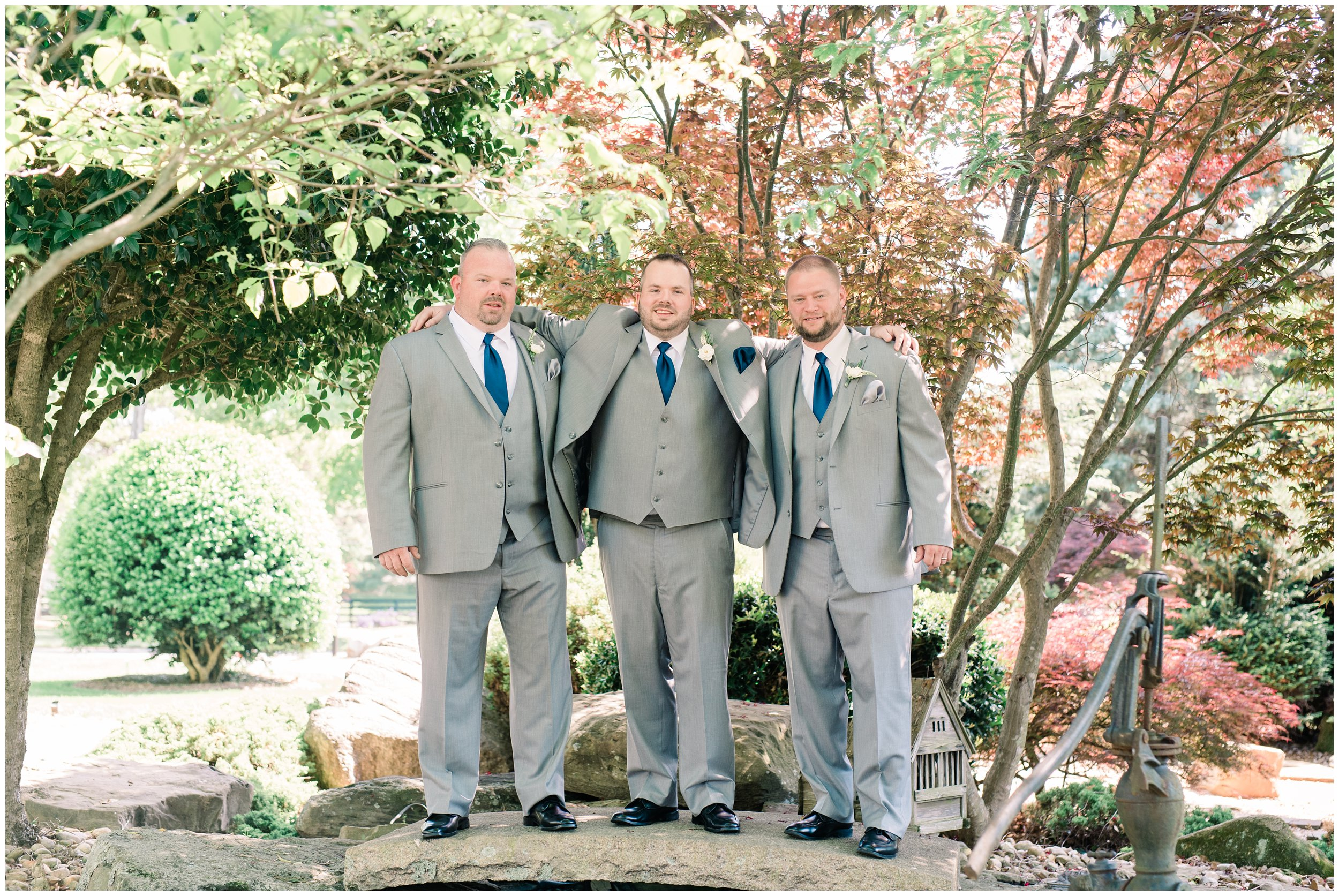 groom with groomsmen before charlotte wedding ceremony