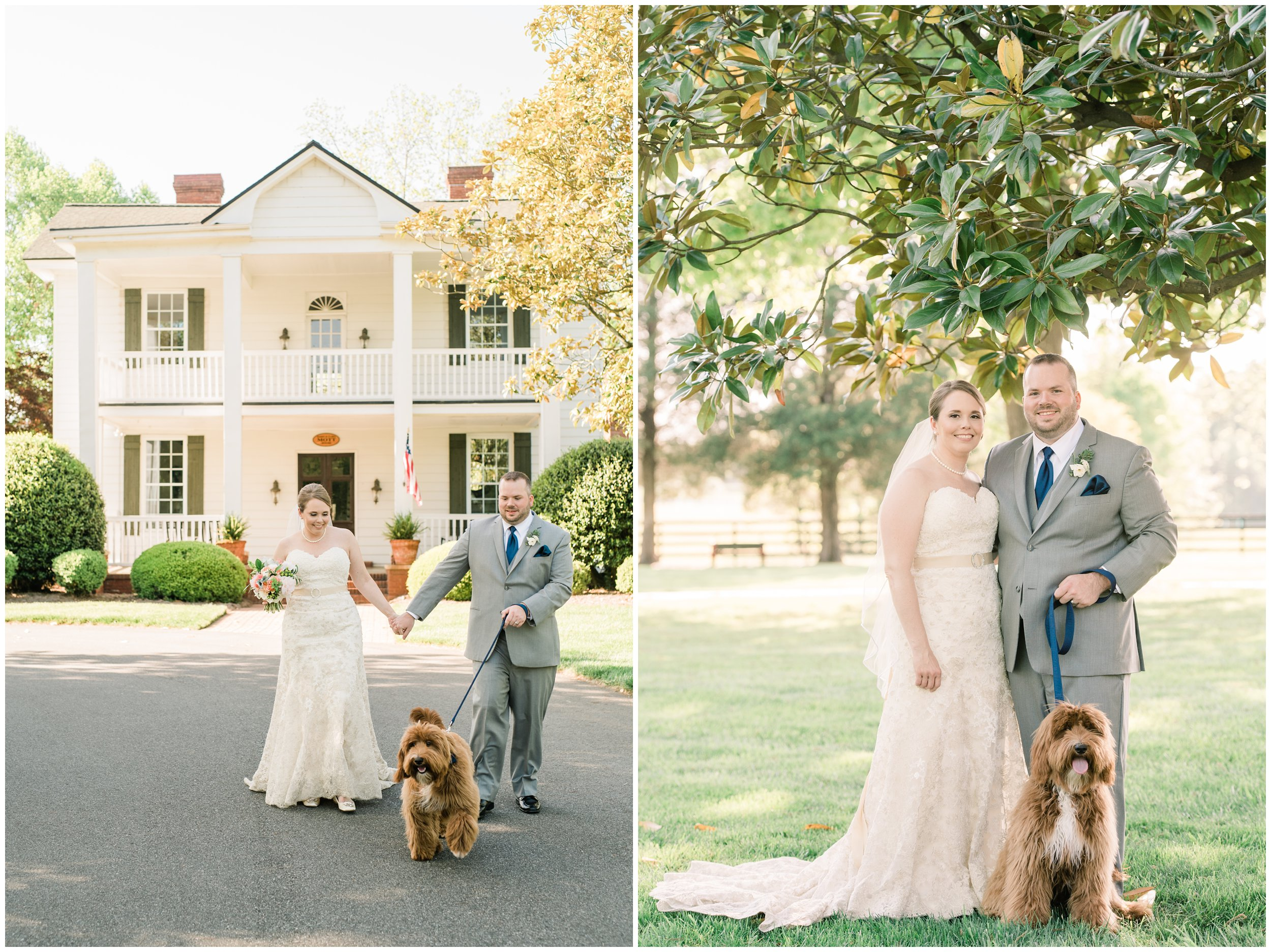 bride and groom portraits with dog outside langtree plantation