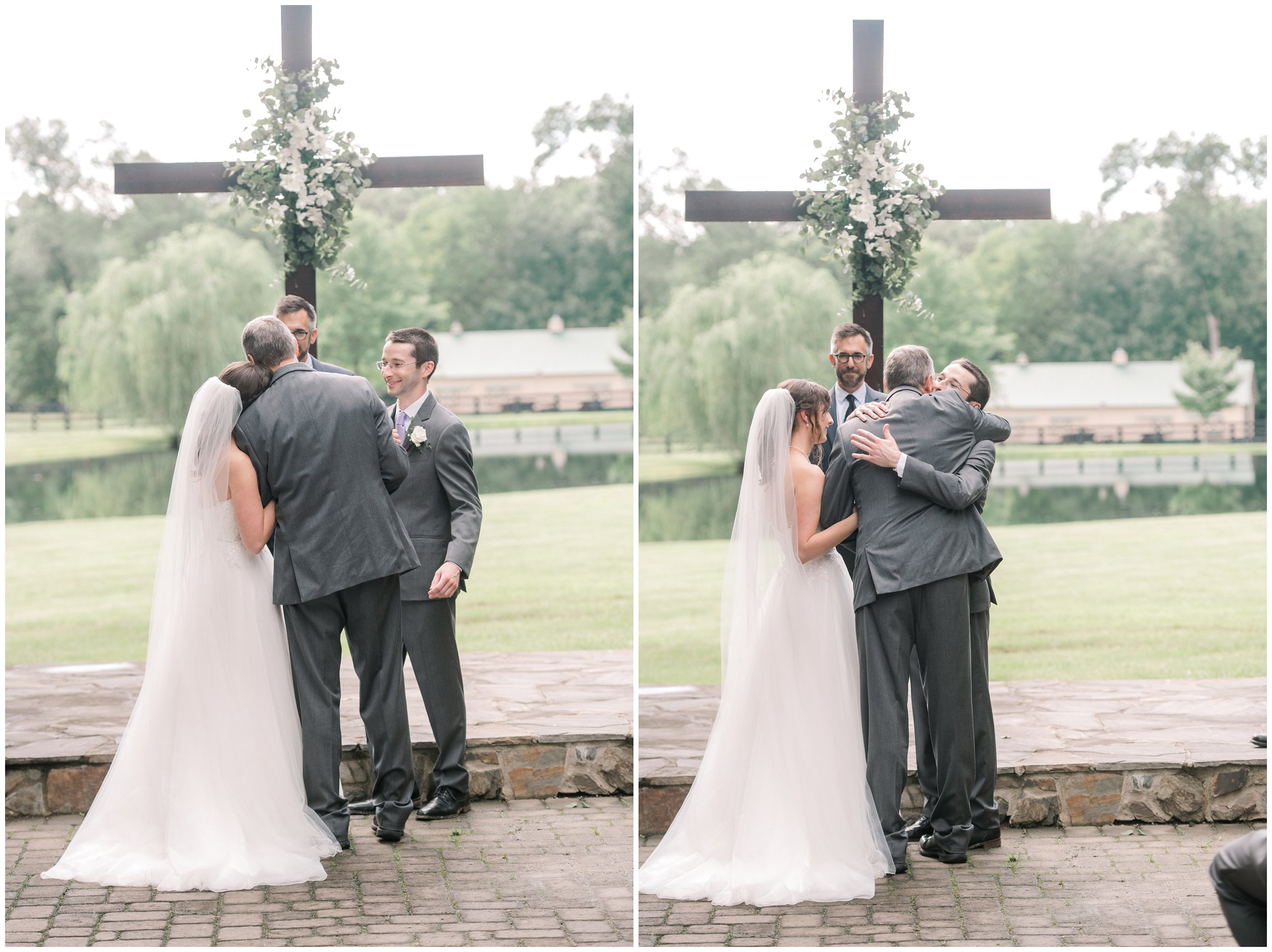 father of the bride giving daughter away, hugging groom