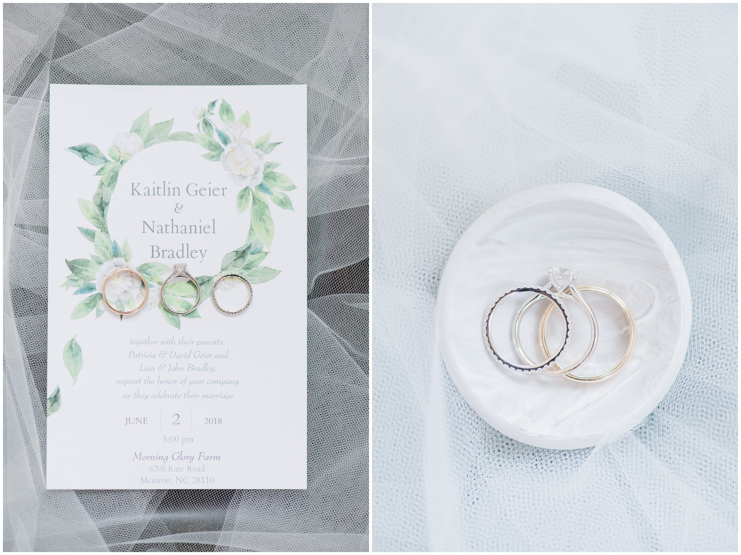 stationery and ring detail morning glory farm wedding