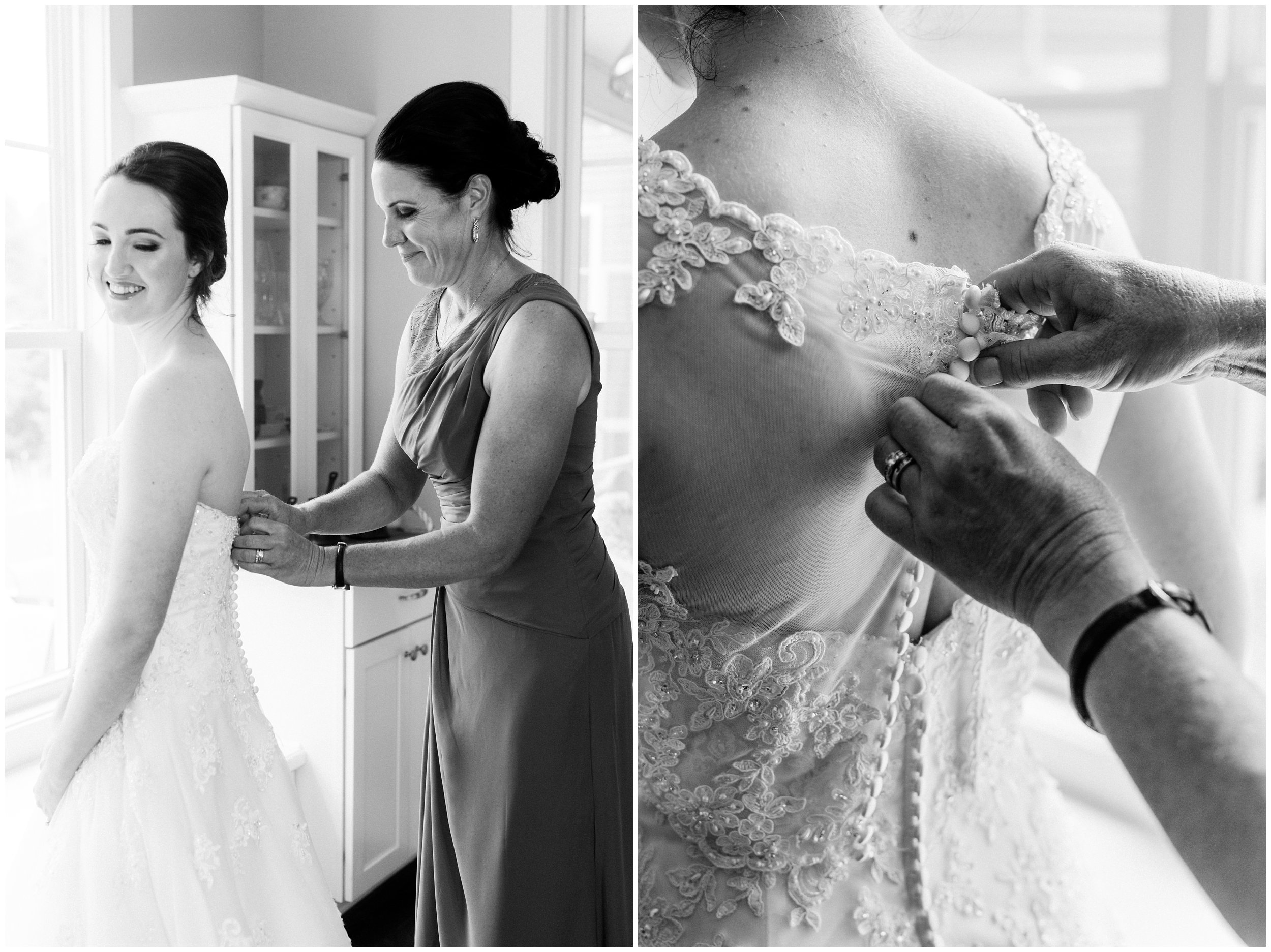 mother of the bride helping get bride ready
