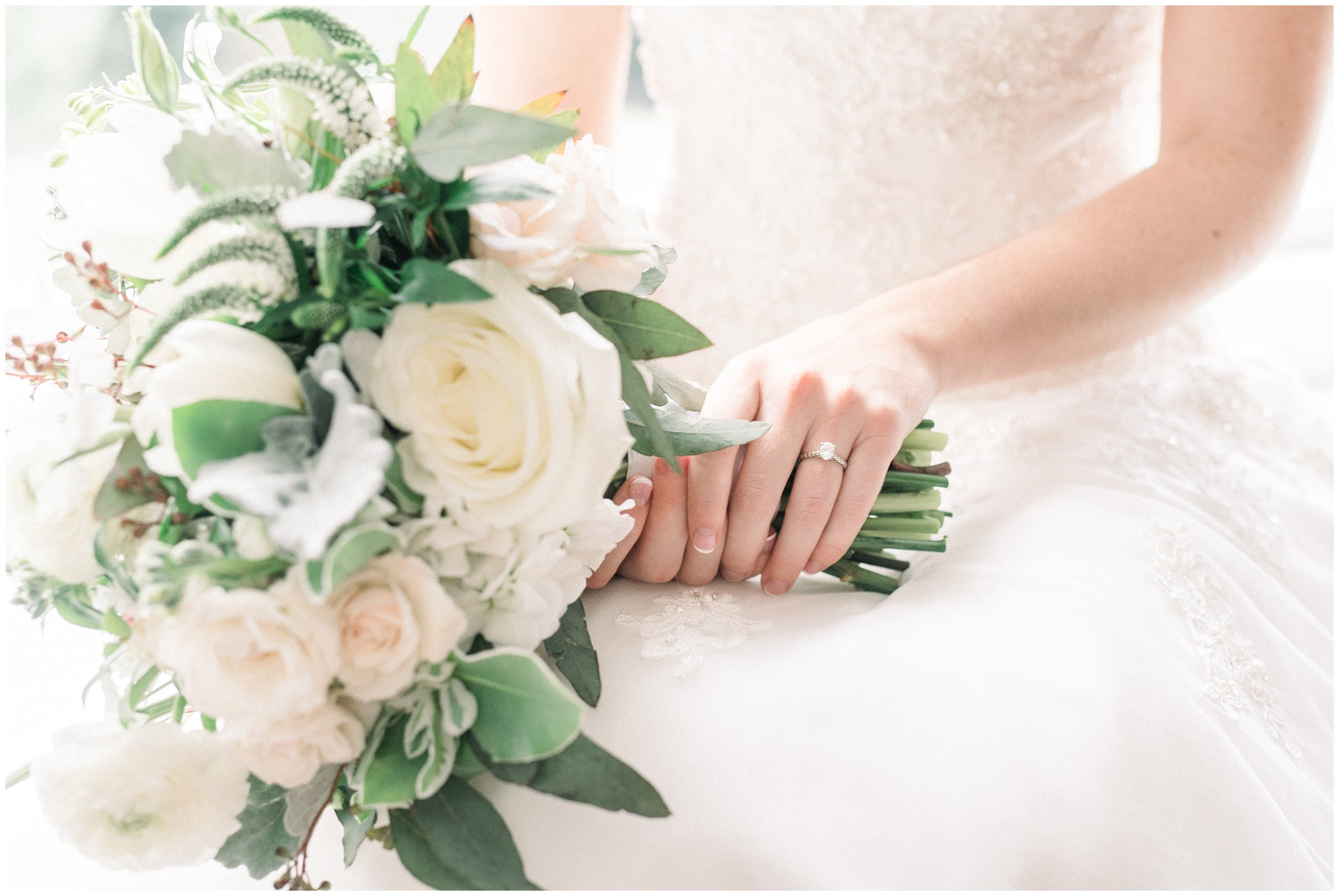 bridal bouquet and engagement ring details