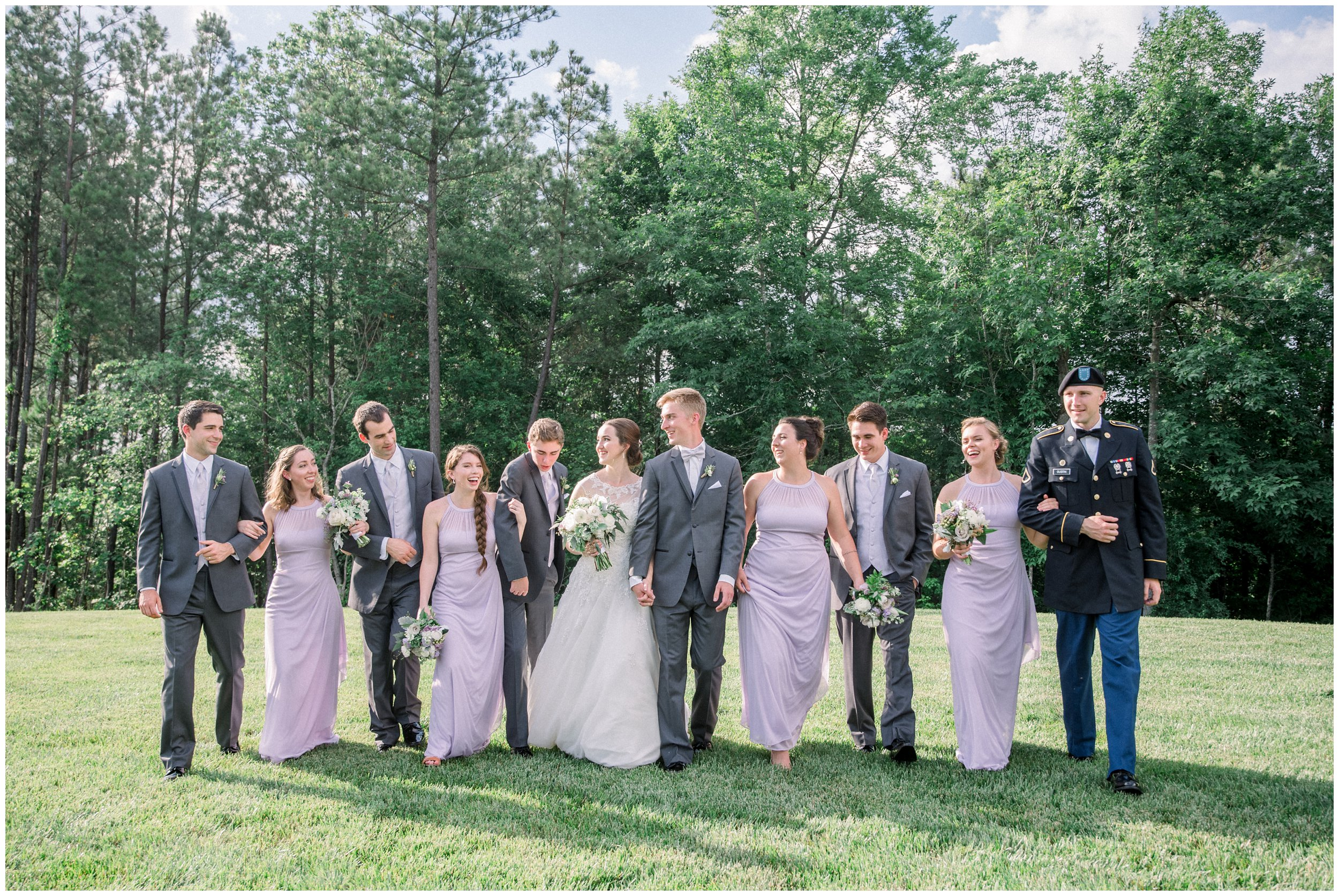 bridal party walking after ceremony