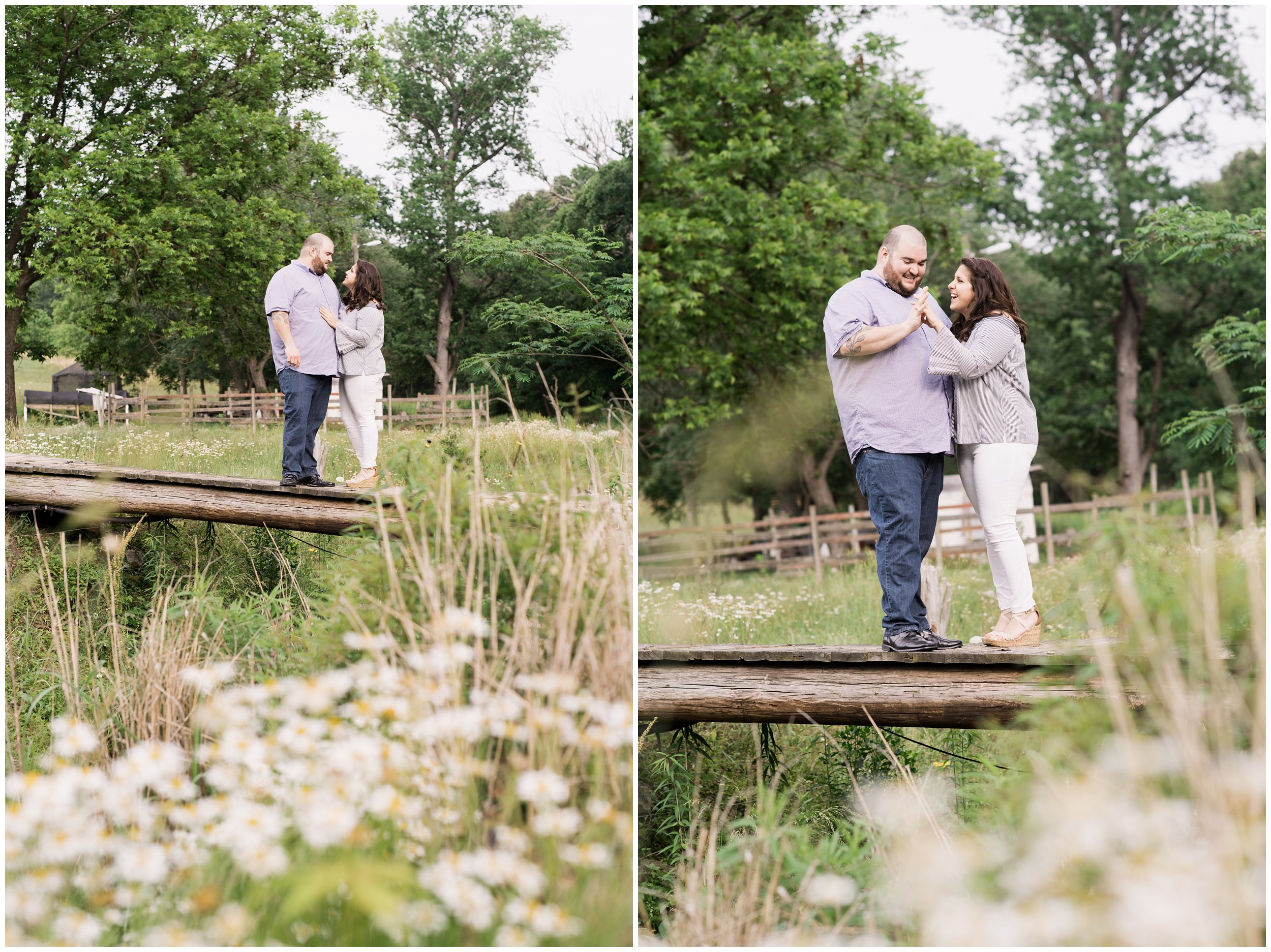 engaged couple on dock with wildflowers