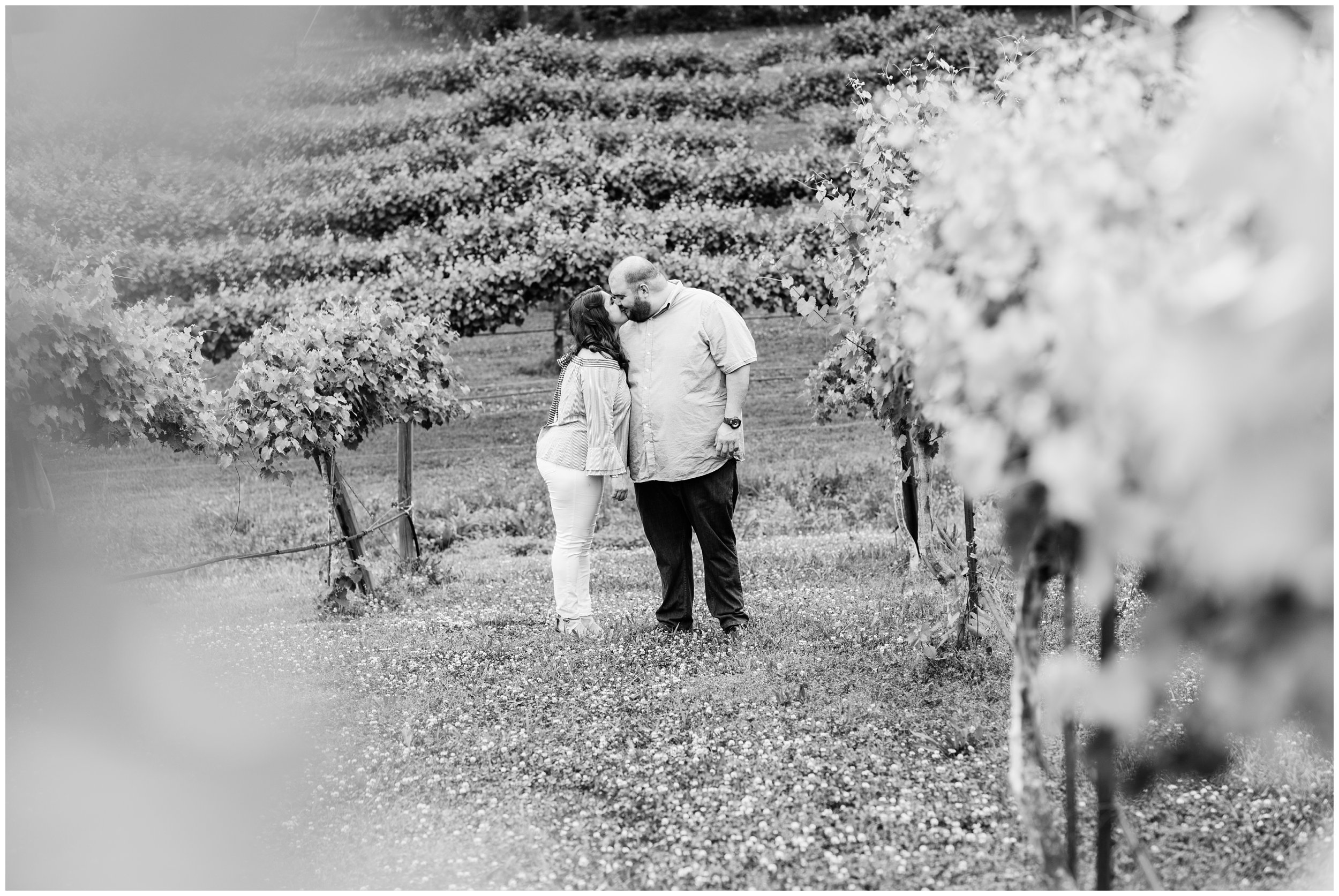 couple kissing in vineyard