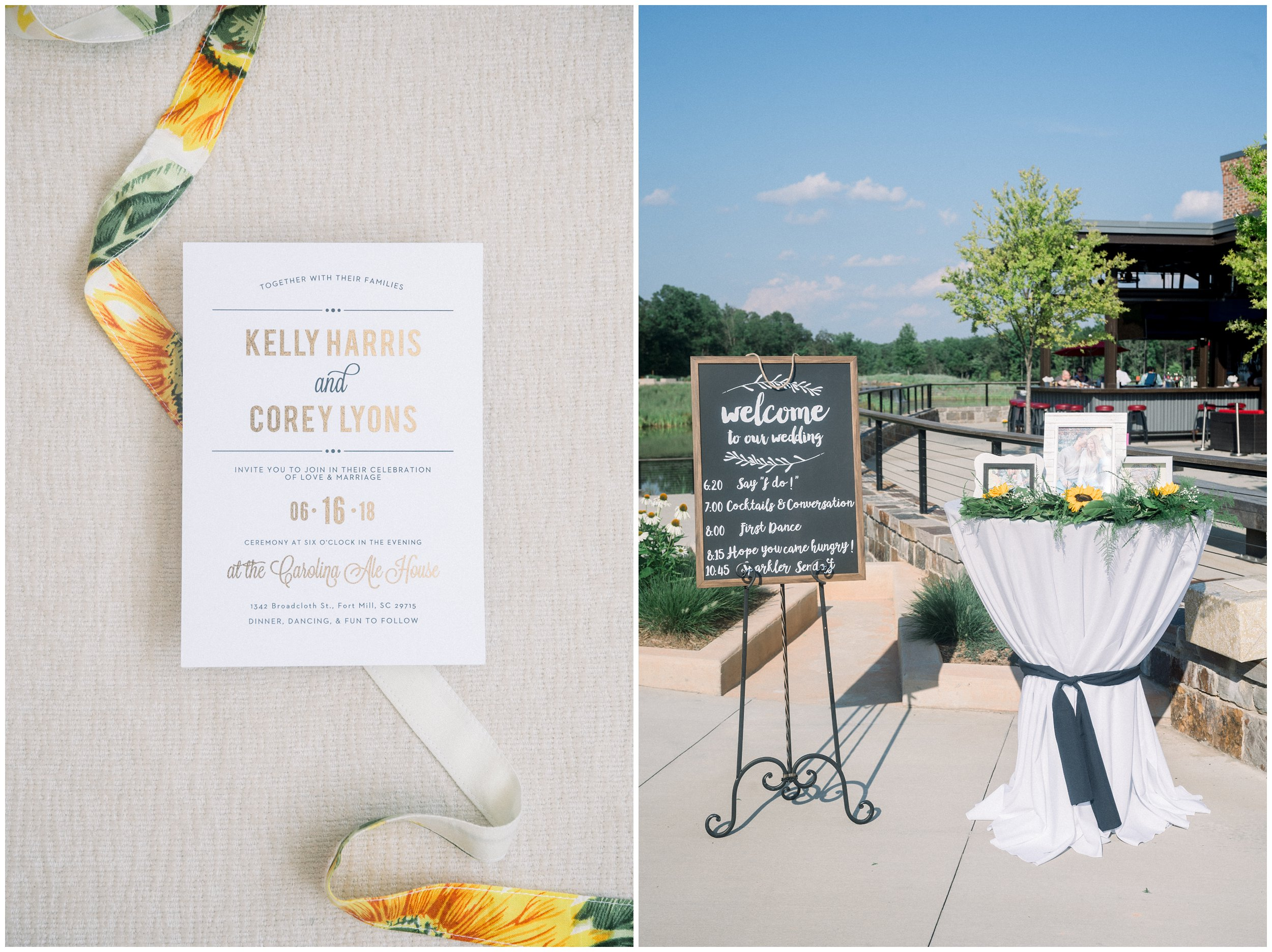 Sunflower wedding stationery, Carolina Ale House wedding