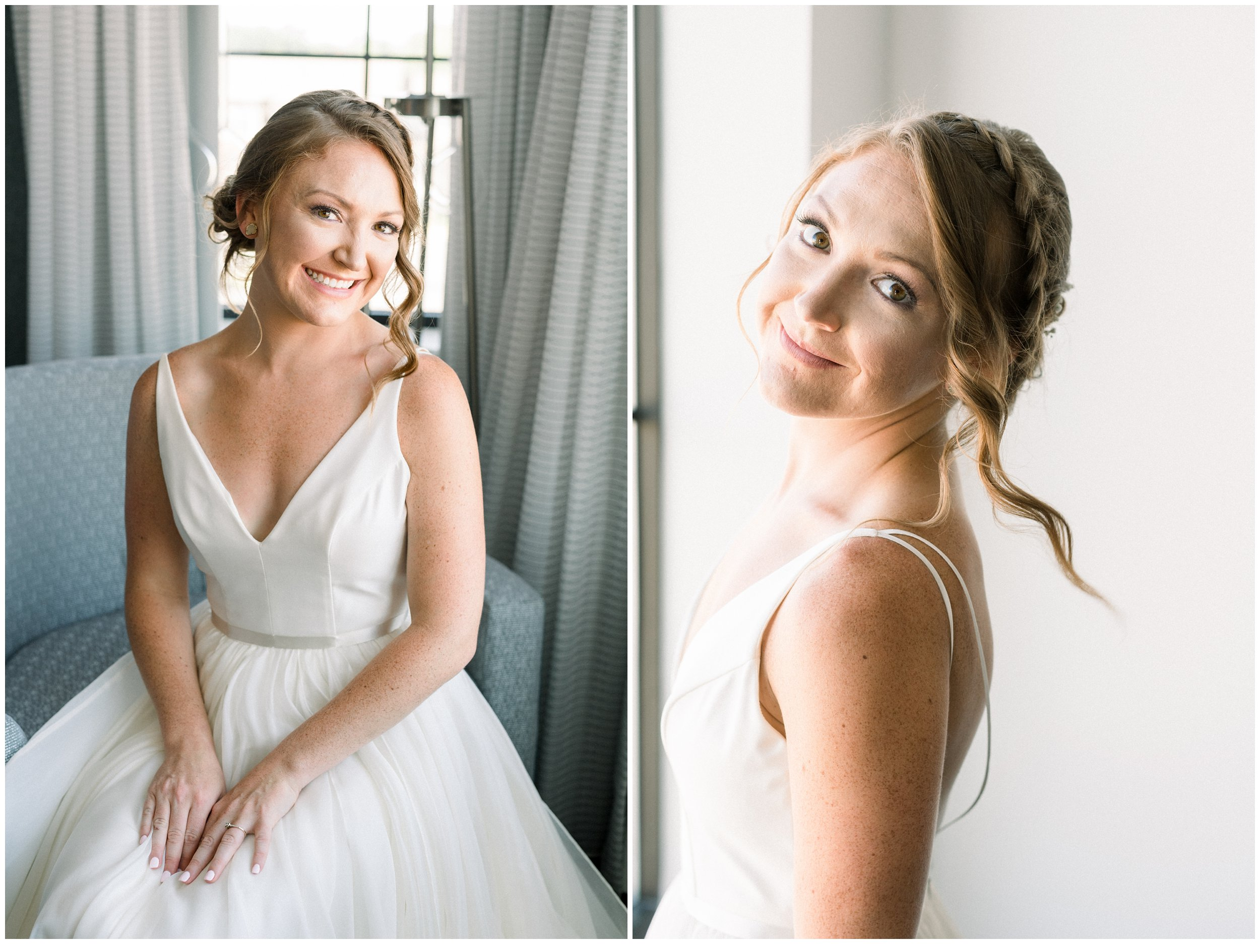 Beautiful bridal portrait next to window