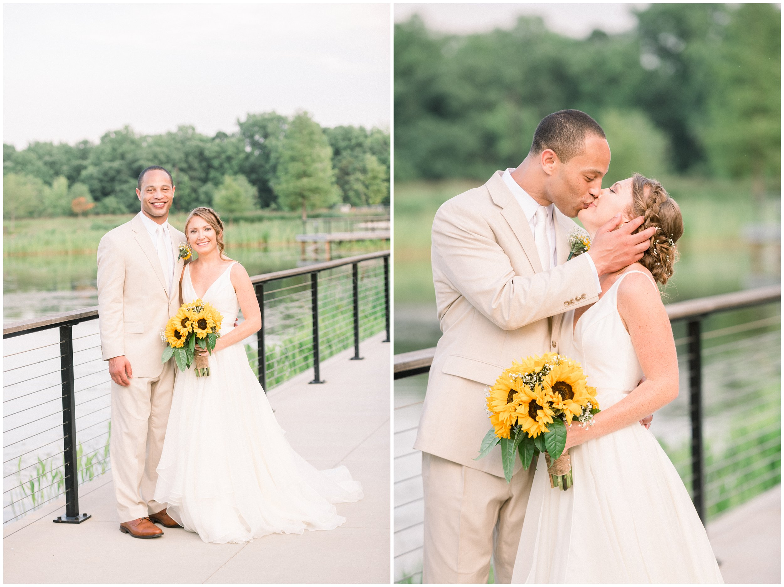 Beautiful wedding portraits next to lake Charlotte wedding