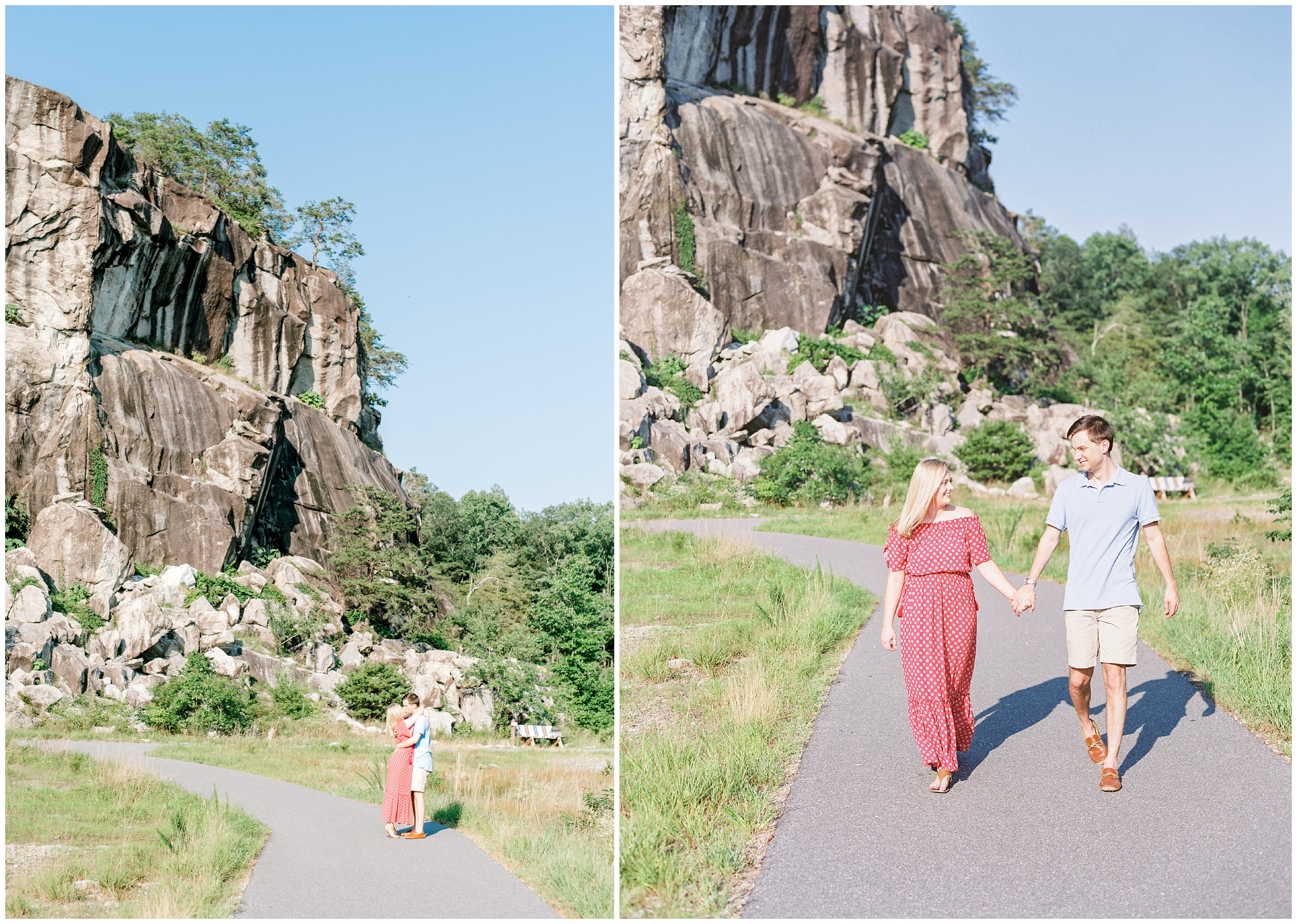 couple walking on path, NC quarry engagement pictures