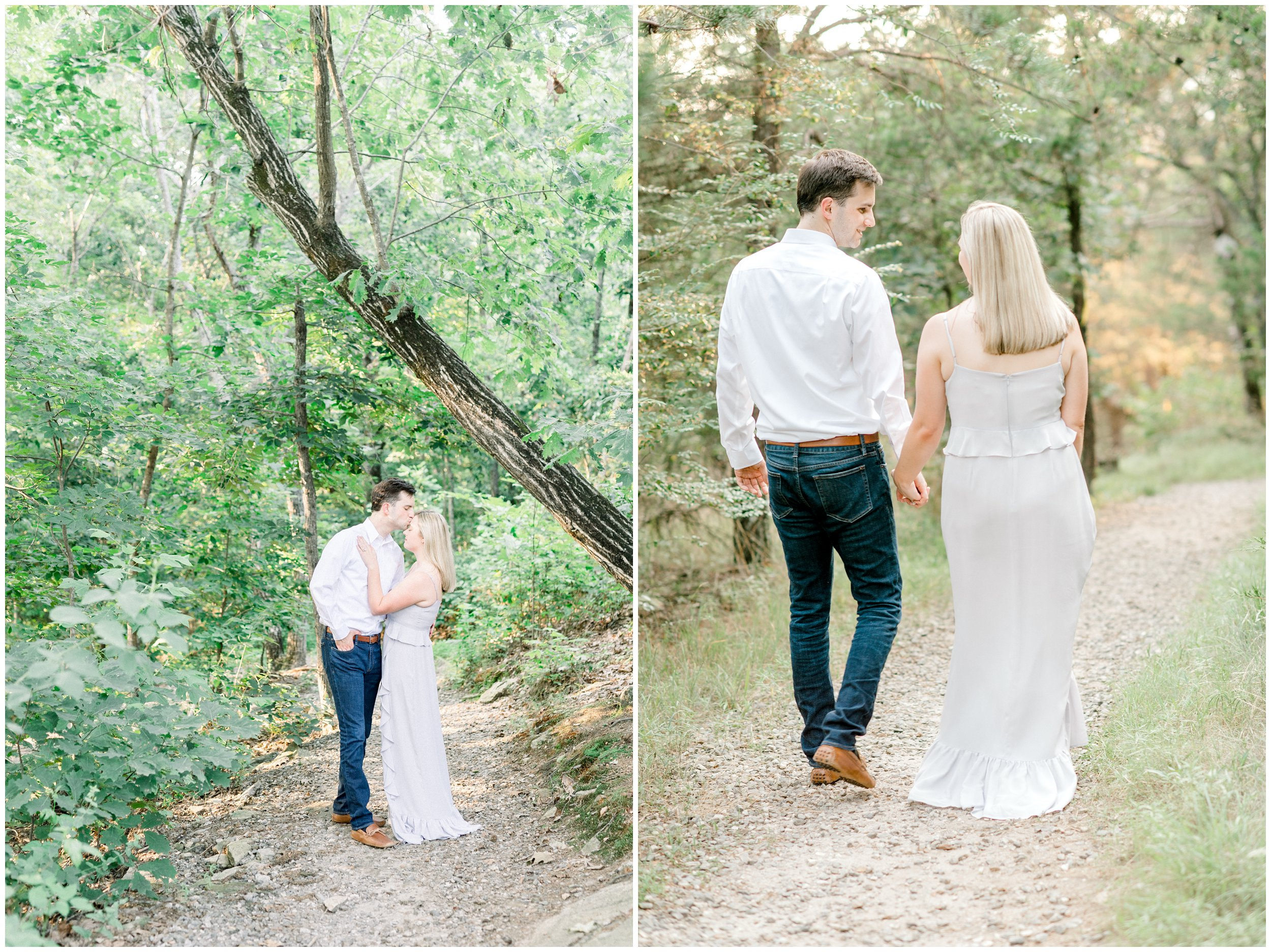 Couple walking in NC forest