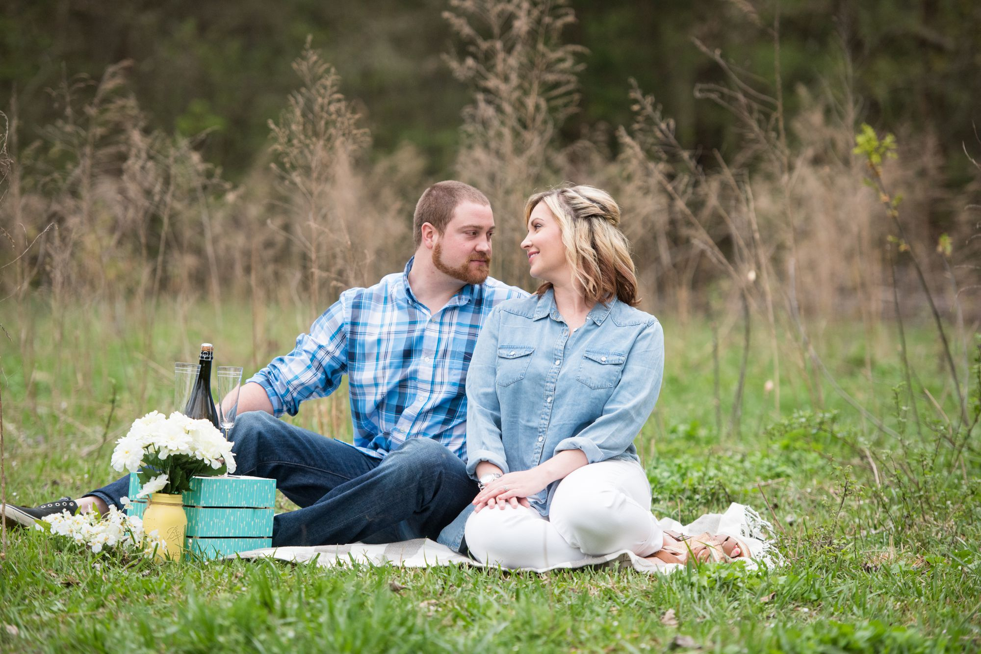pop champagne at charlotte engagement session