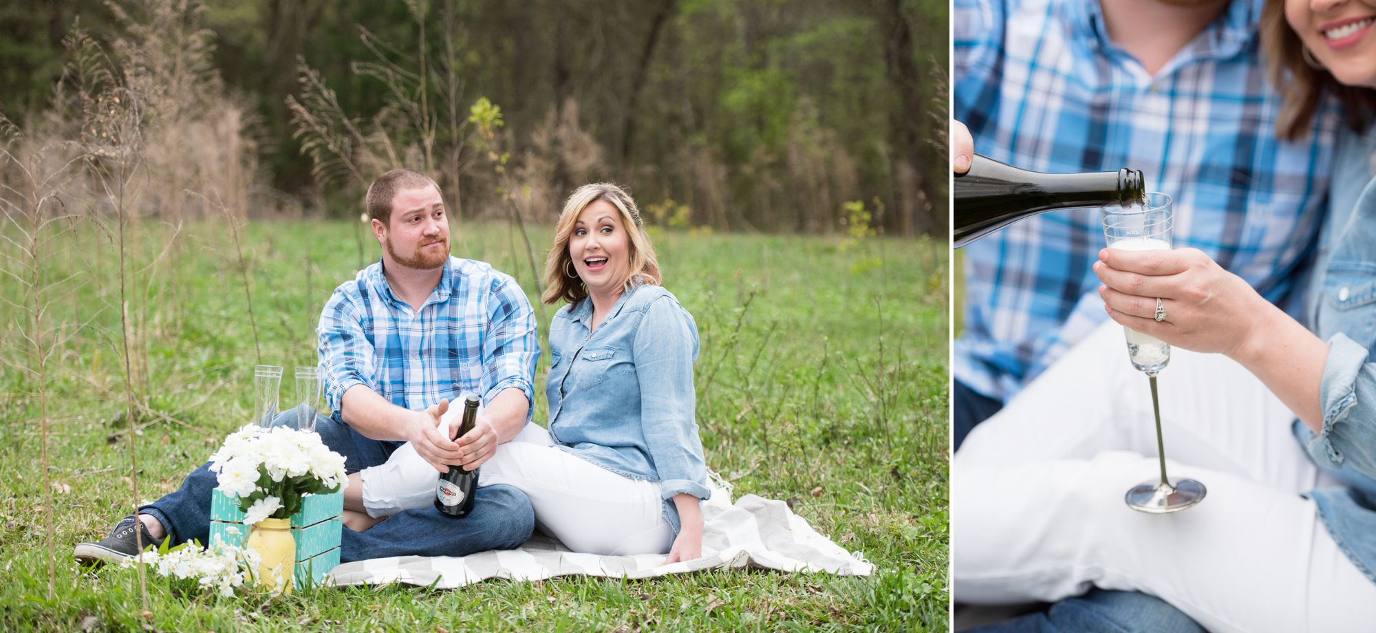 charlotte engagement session with champagne