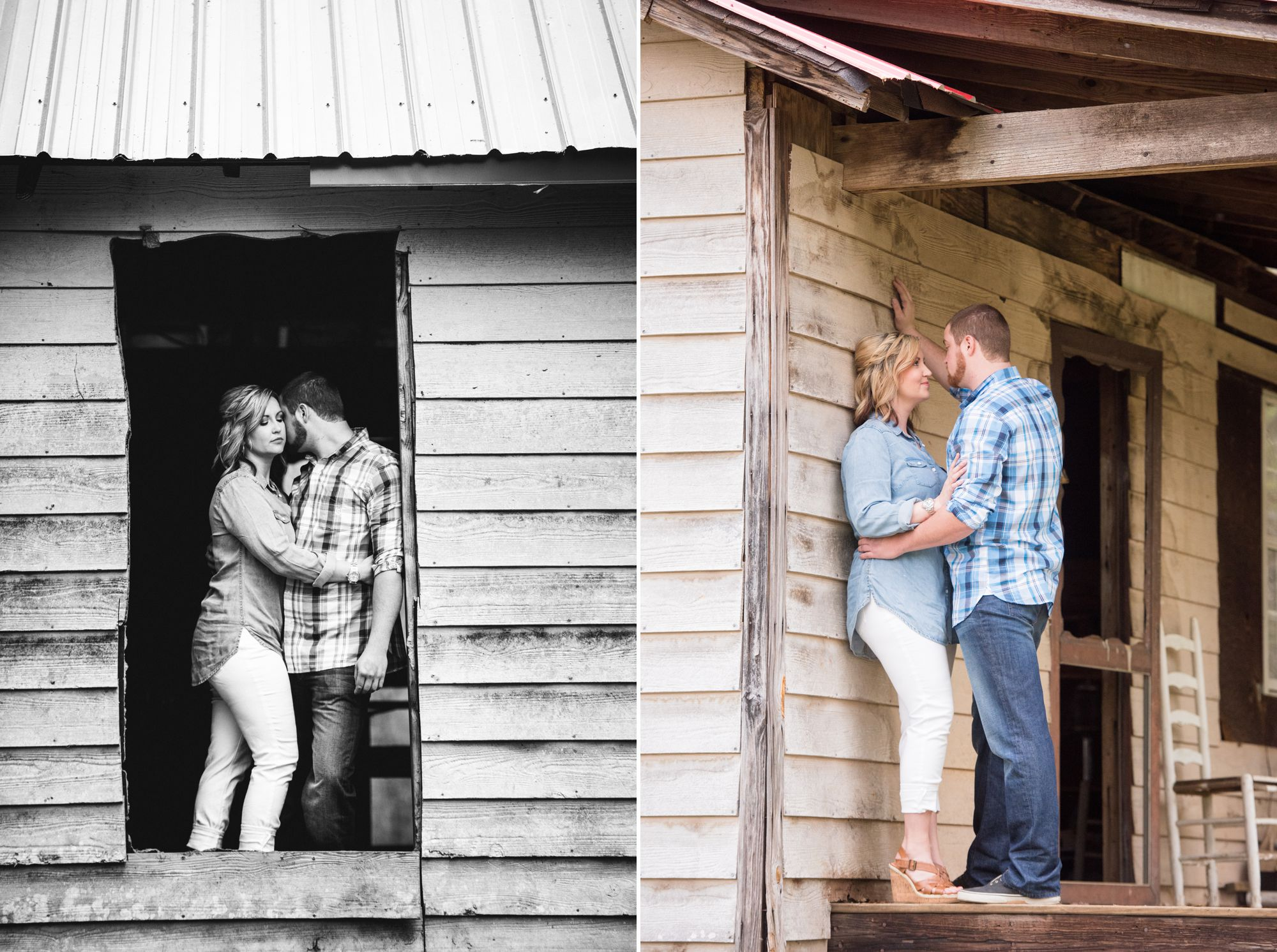 farm house engagement session in charlotte