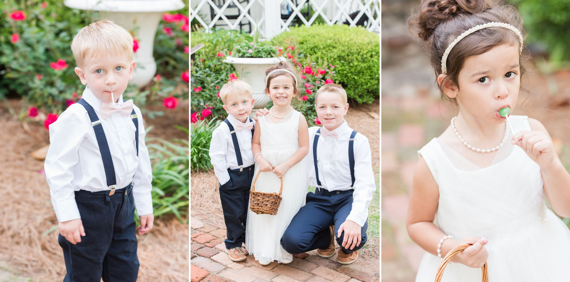 flower girl and ring bearer before Charlotte Wedding