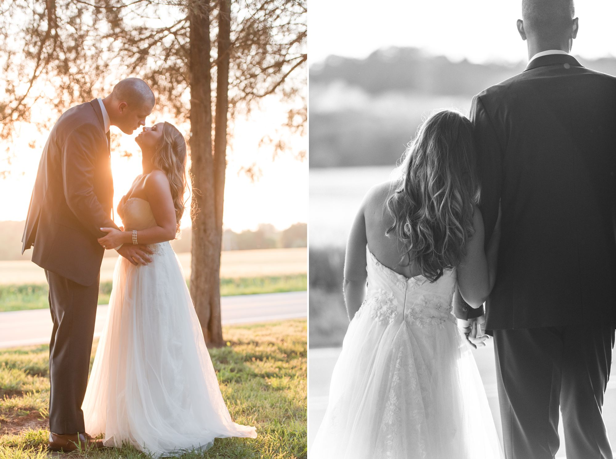 golden sunset bride and groom portrait in Charlotte wedding