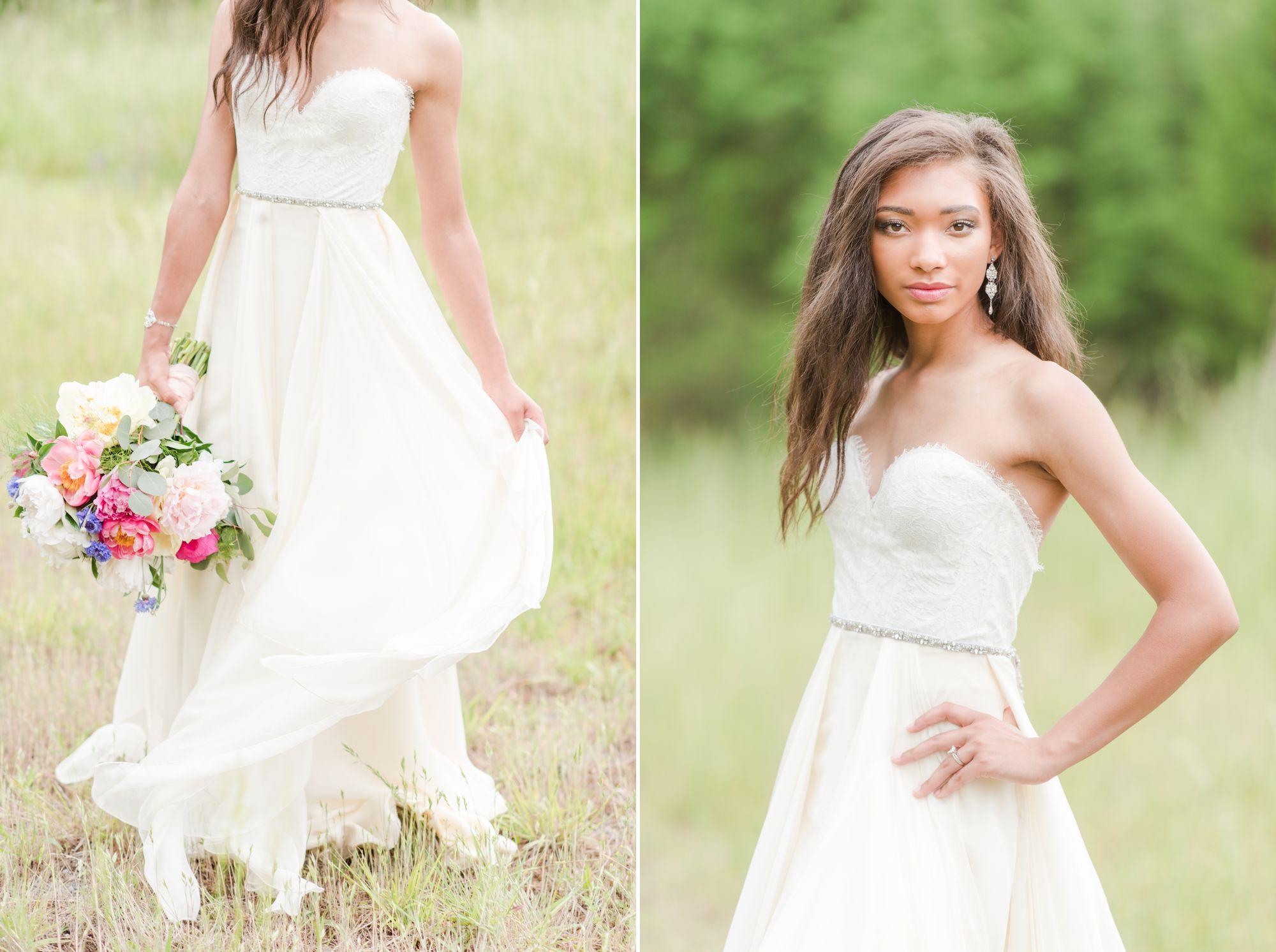 bride in sunny field