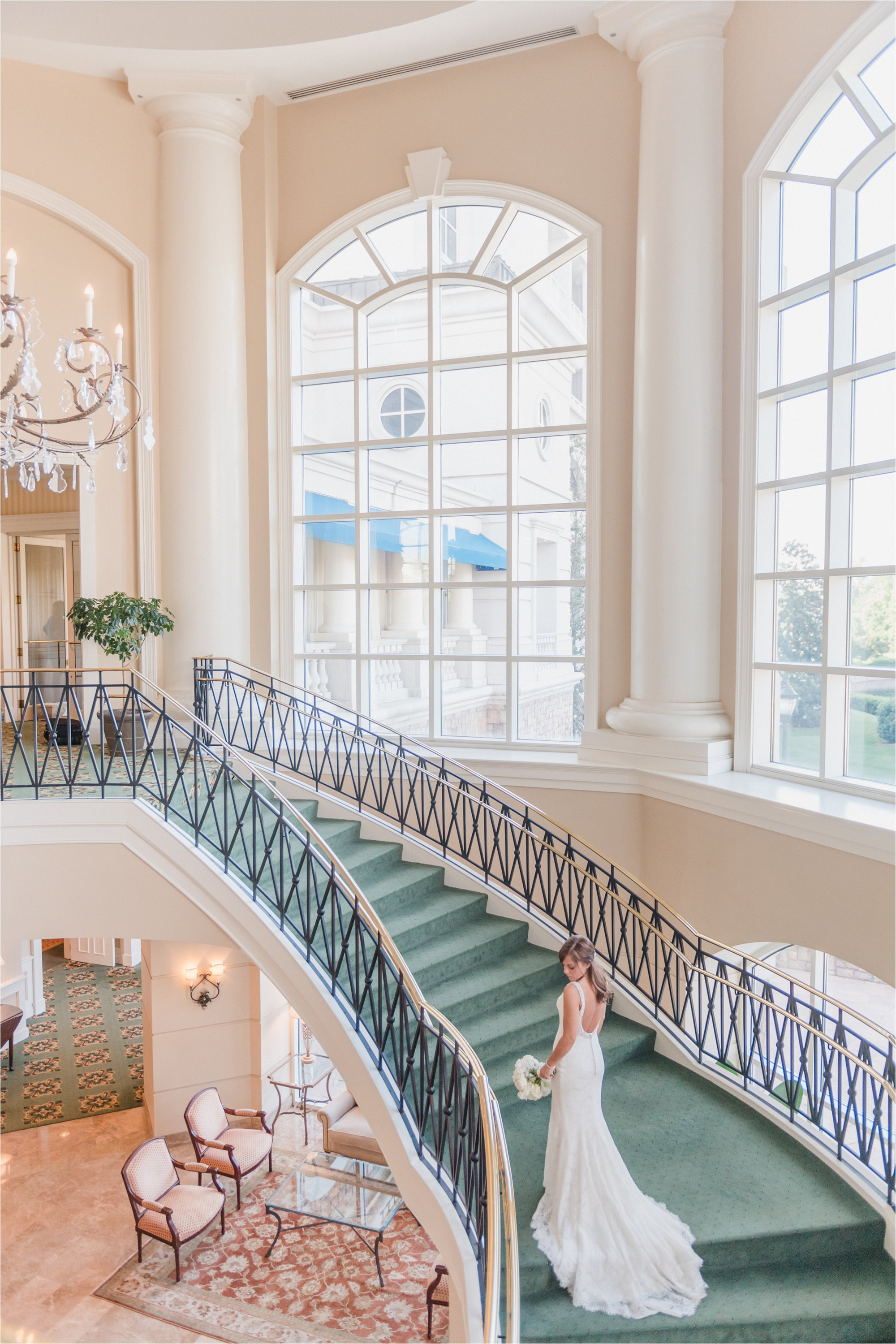 Bridal Portrait on Staircase of The Ballantyne Hotel