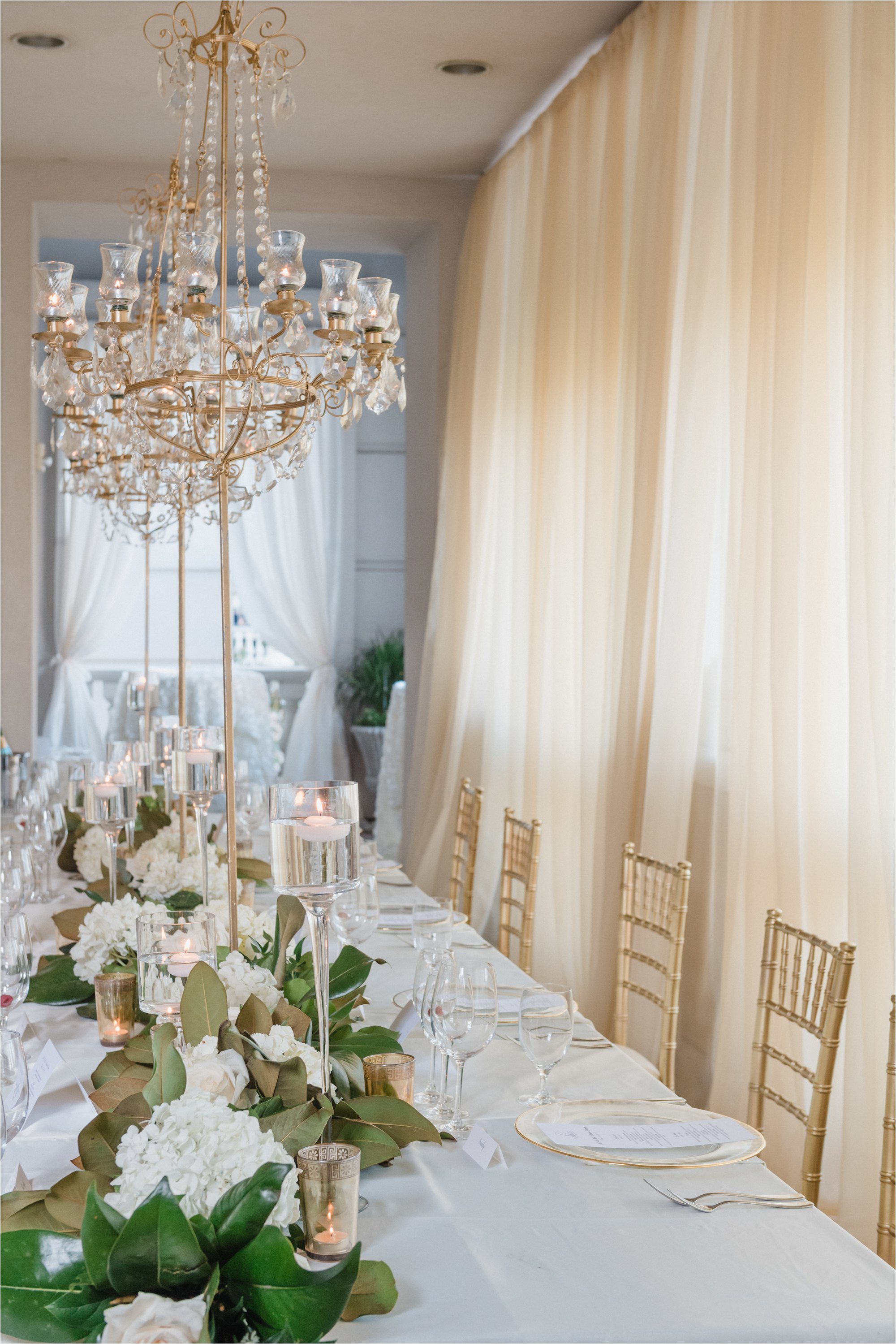 Wedding tablescape with gold candelabras