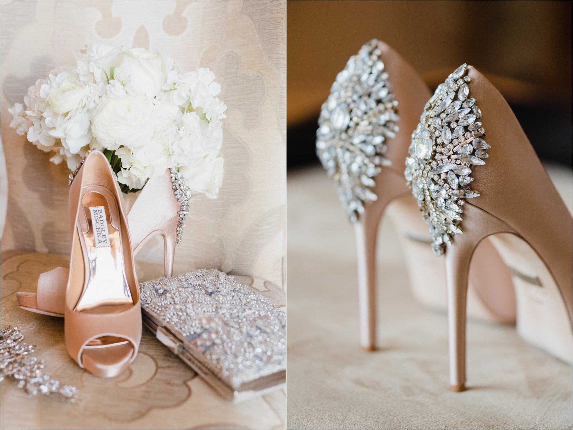 Blush wedding high heals with crystal detail on back