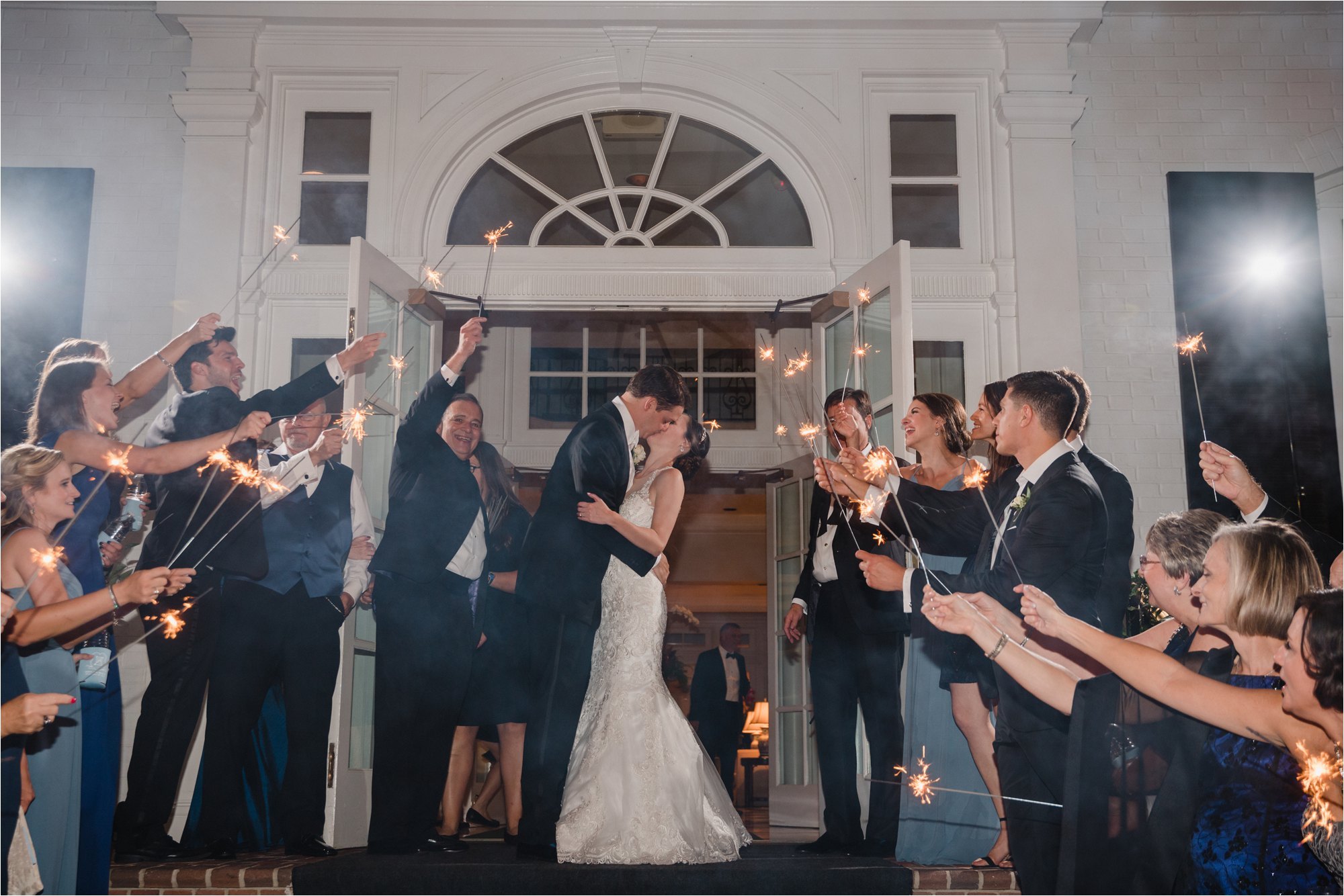 wedding sparkler exit at greensboro country club