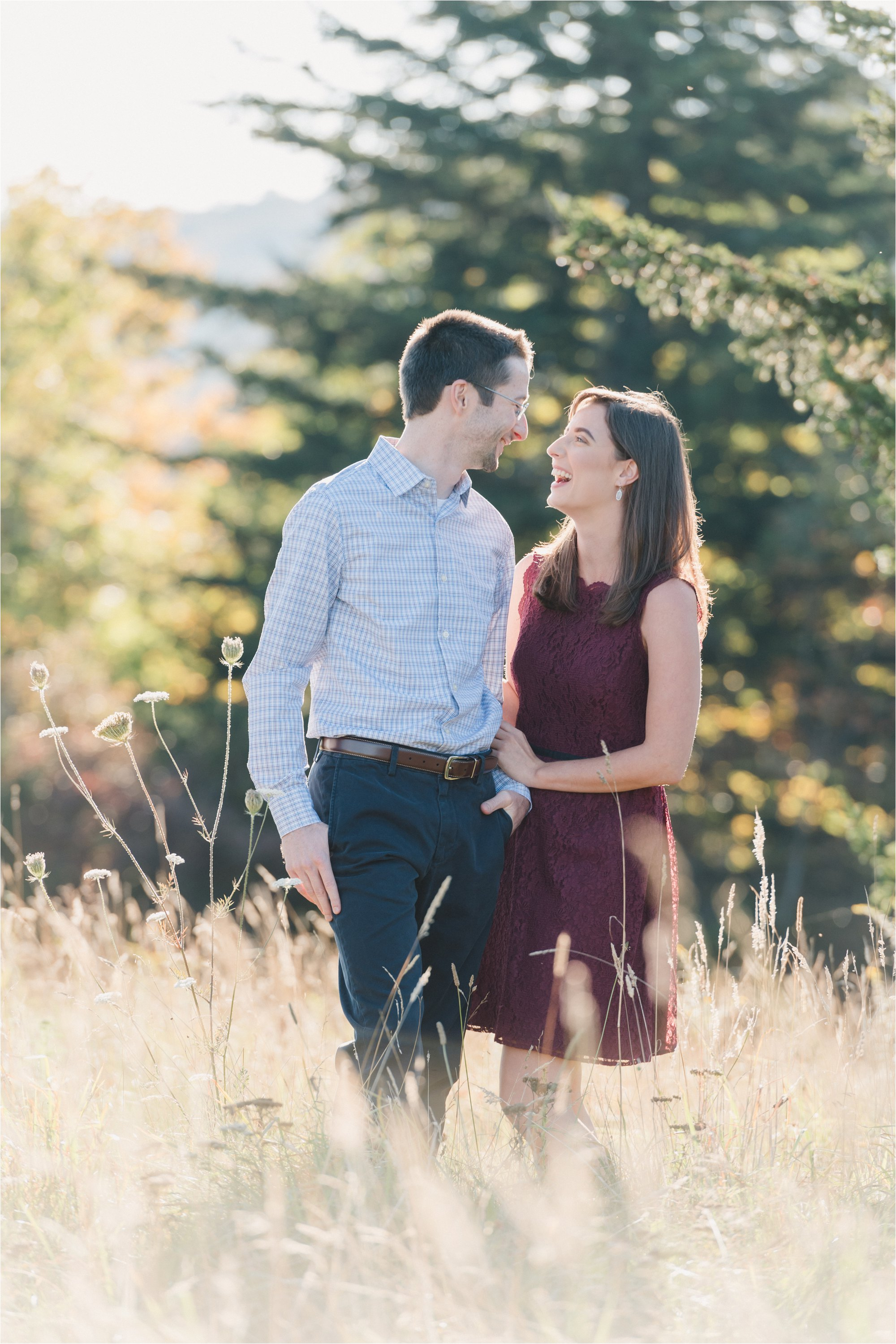 Couple Holding Hands at Engagement Session at Blue Ridge Mountains