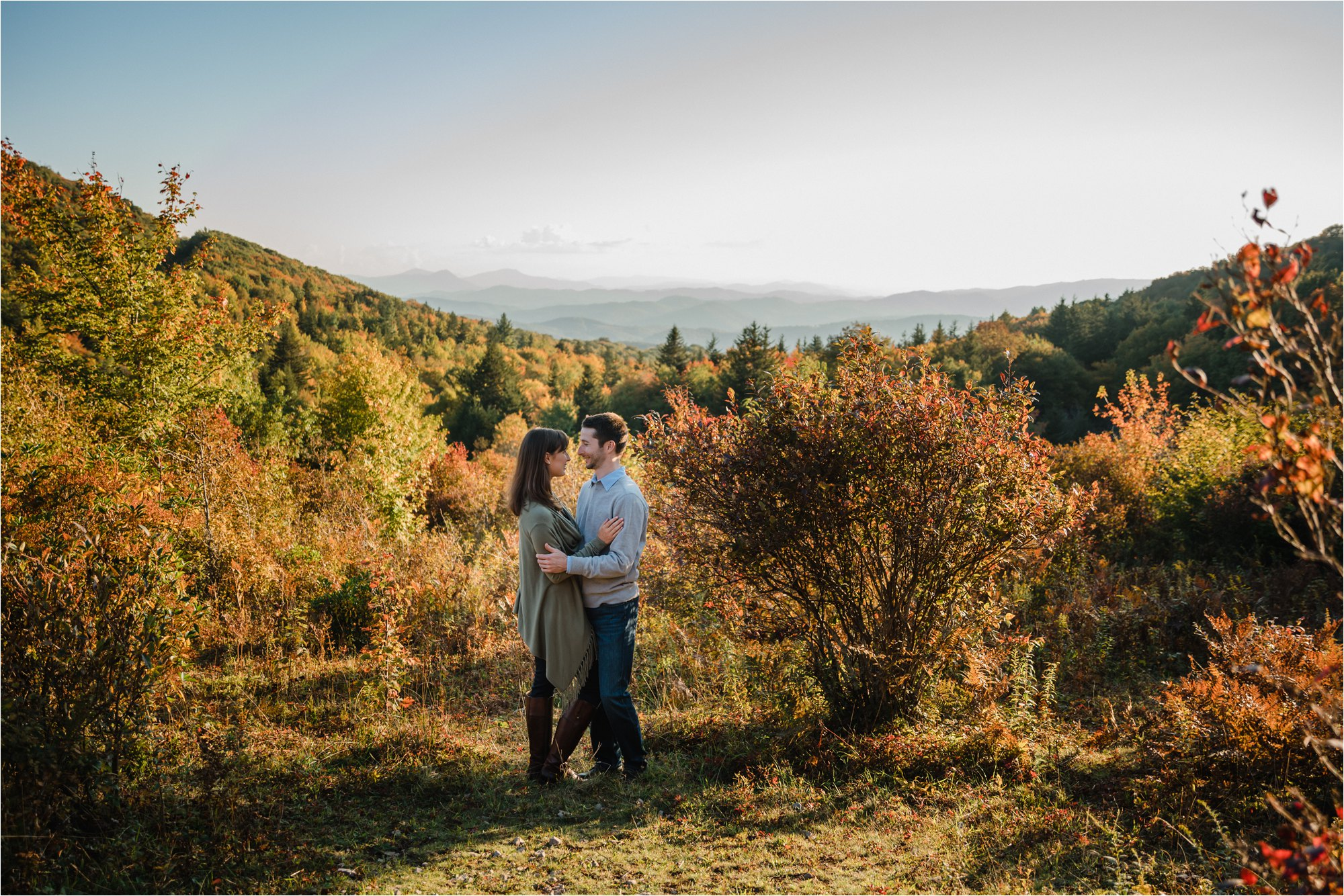 Engagement Photos in Foliage at Blue Ridge Mountains