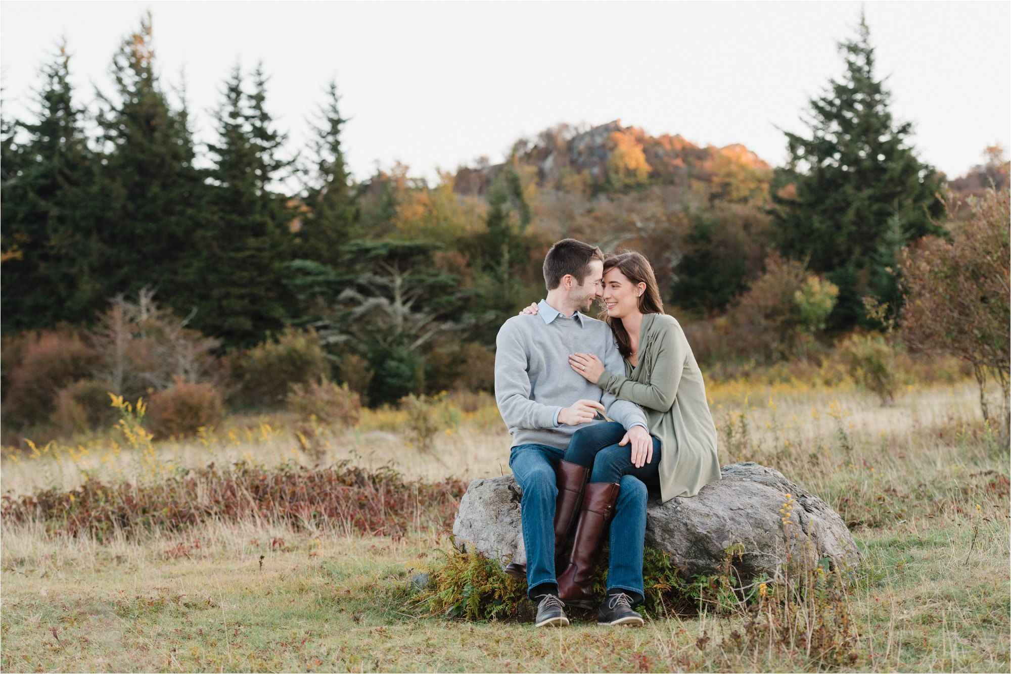 Couple Sitting at Blue Ridge Mountains
