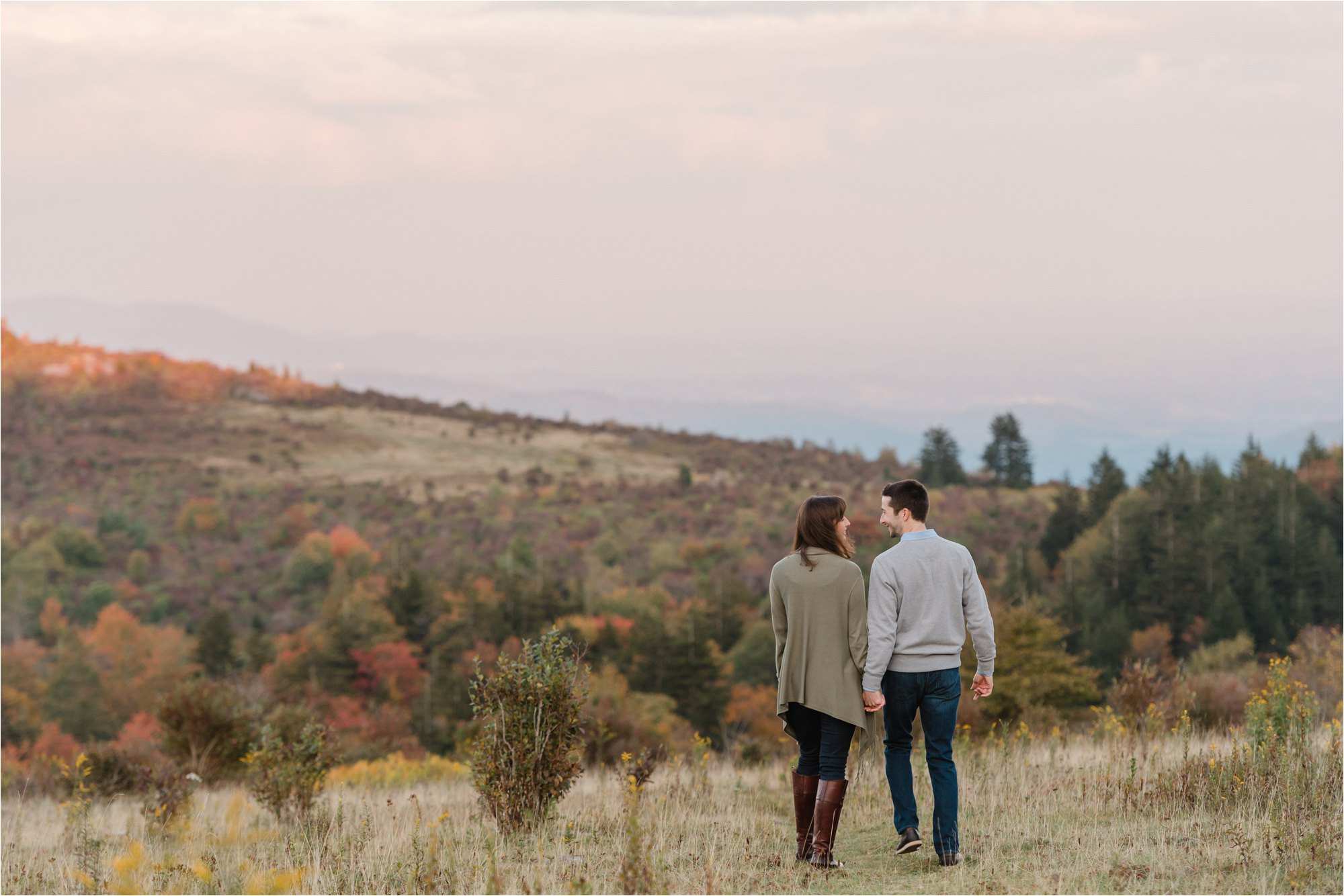 Engaged Couple walking at Blue Ridge Mountains